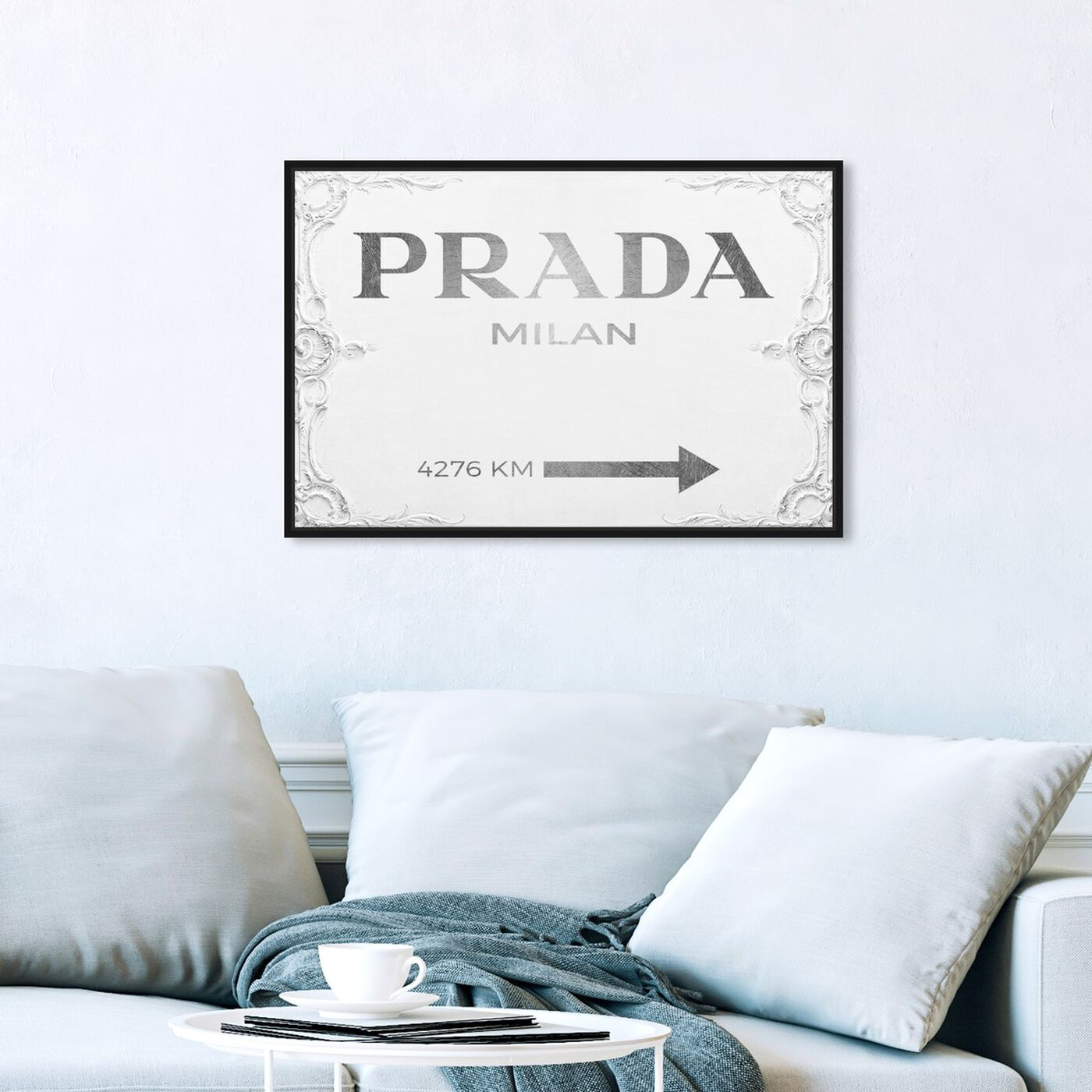Hanging view of Milan Sign featuring fashion and glam and road signs art.