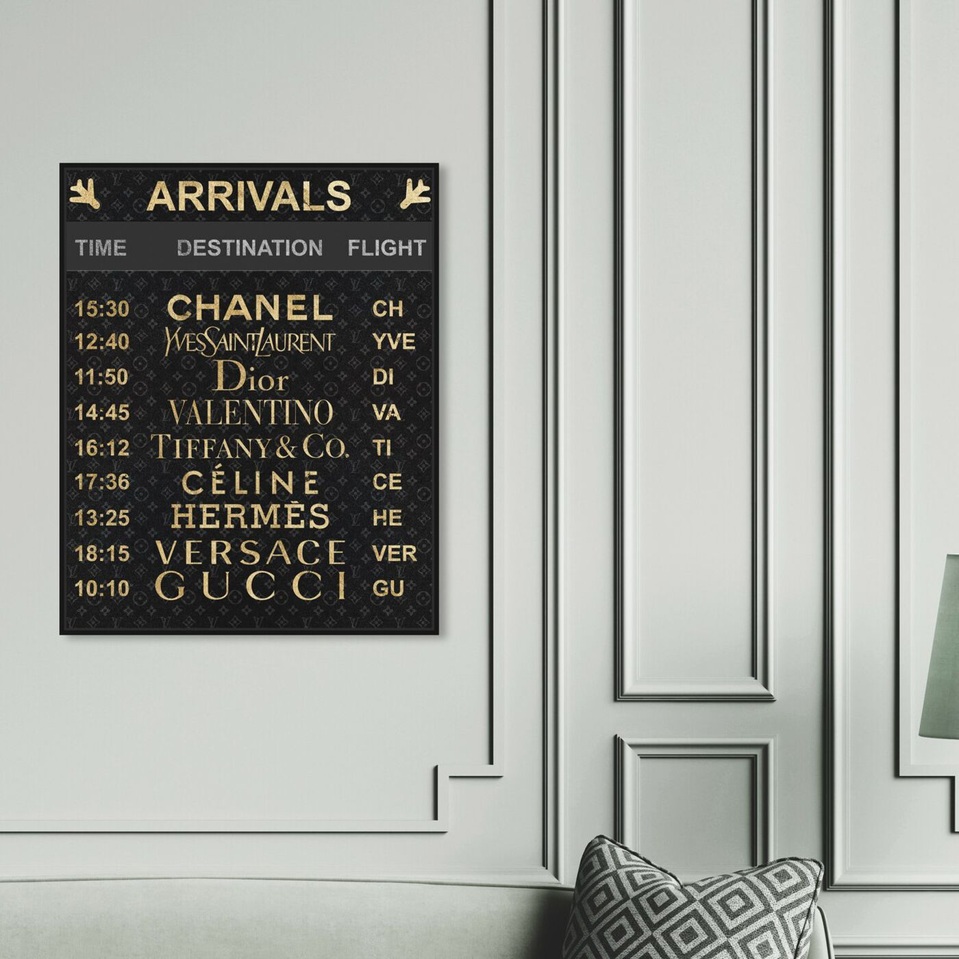 Hanging view of Luxe Arrivals featuring fashion and glam and travel essentials art.