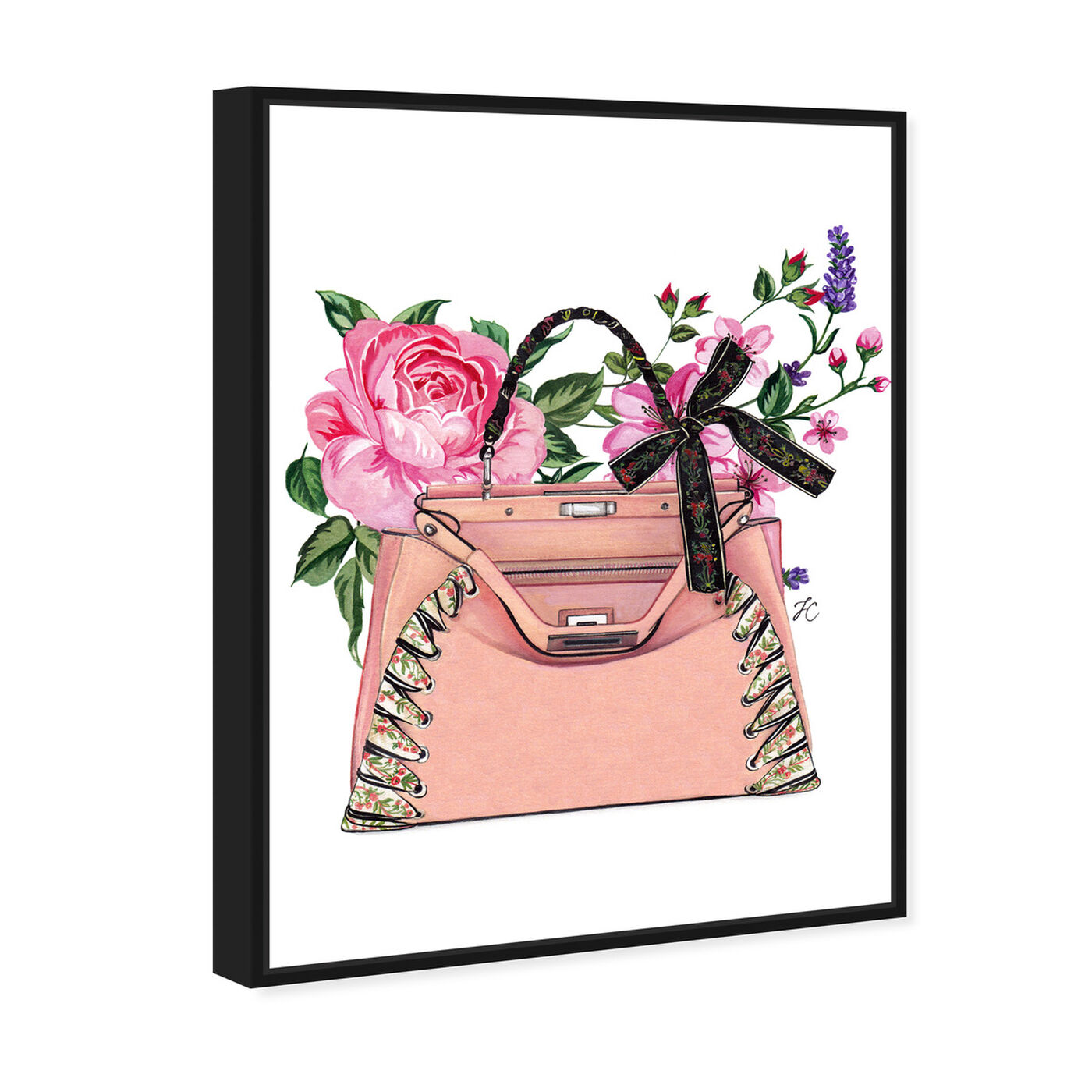 Angled view of Doll Memories - Pink roses featuring fashion and glam and handbags art.