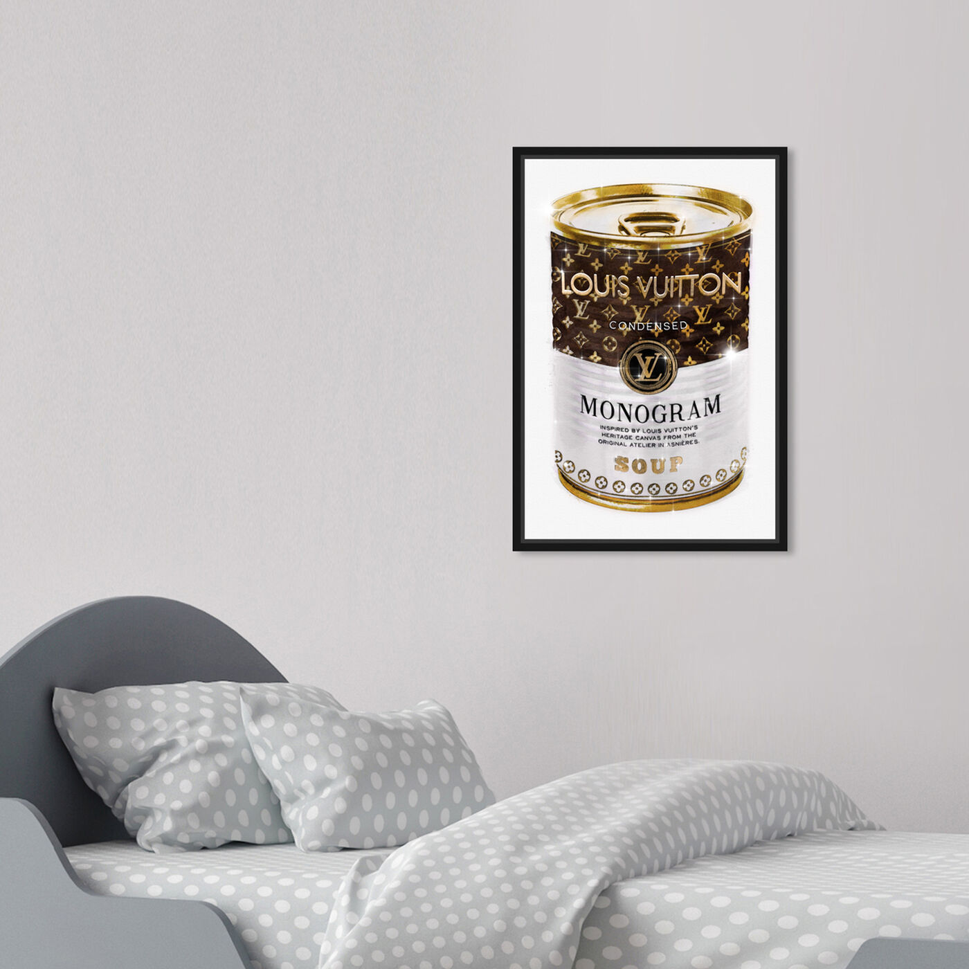 Hanging view of Monogram Soup Can featuring fashion and glam and soup can art.