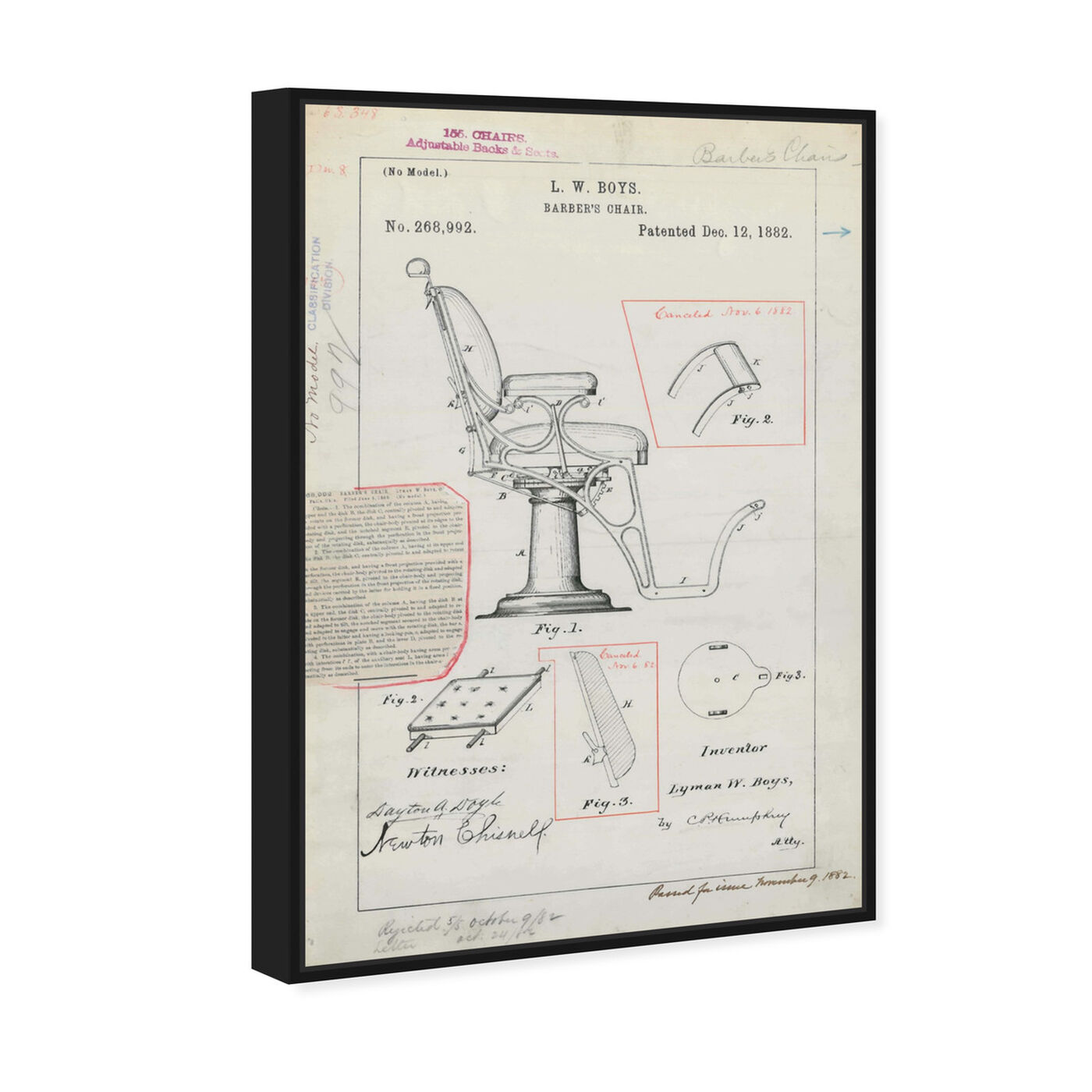 Angled view of Barber Chair Patent 1882 featuring bath and laundry and barber art.