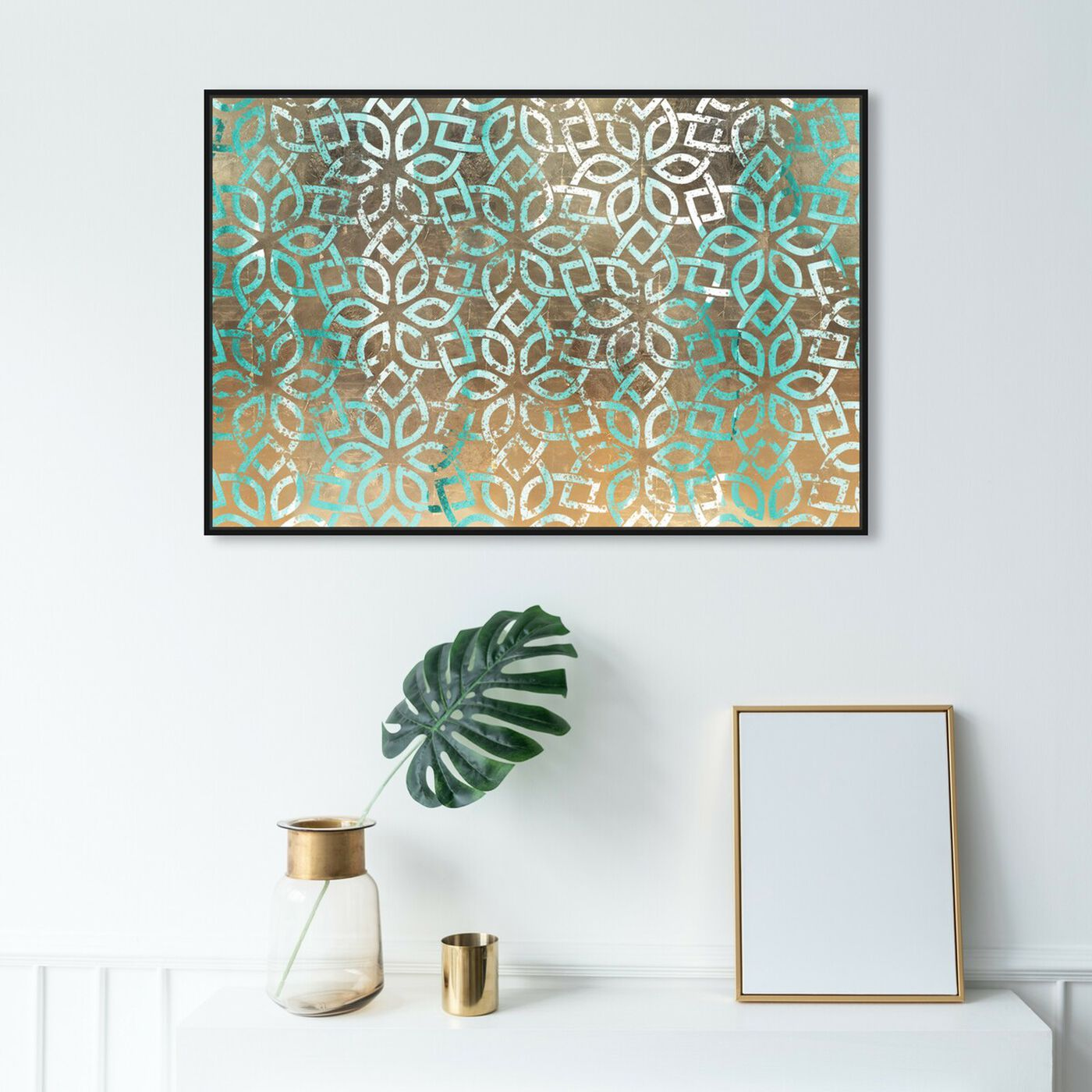 Hanging view of Regal Jade Lattice featuring abstract and patterns art.