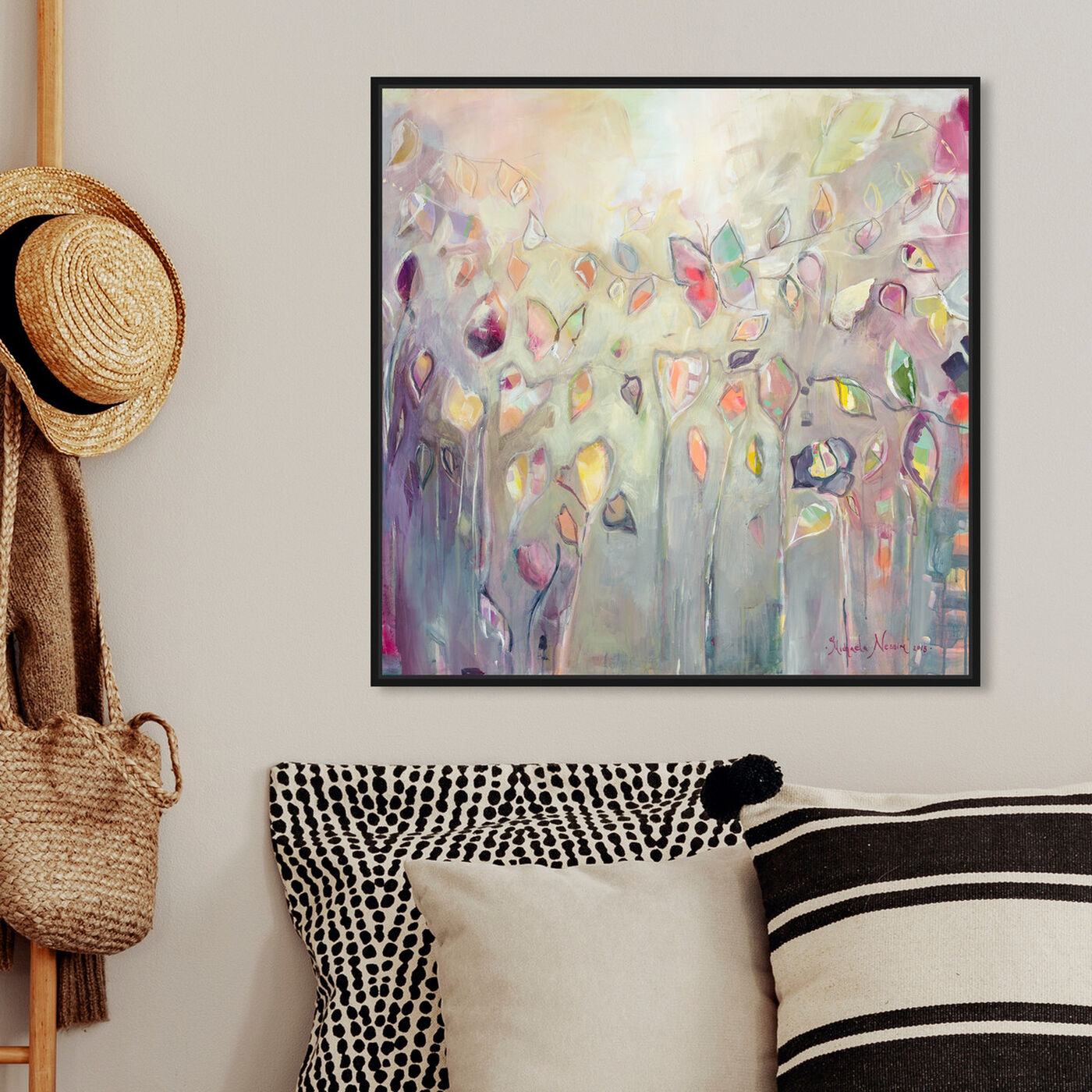 Hanging view of Butterfly Dance by Michaela Nessim Canvas Art featuring abstract and paint art.