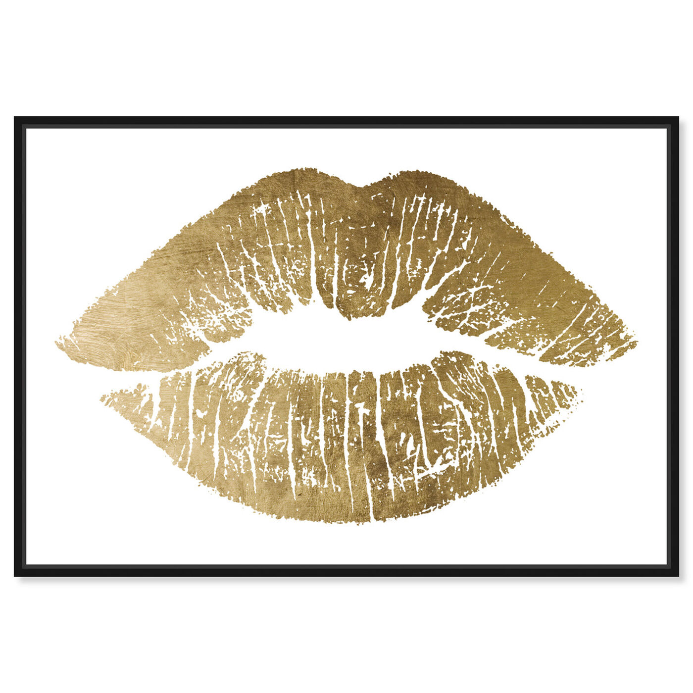 Front view of Solid Kiss Gold Foil featuring fashion and glam and lips art.