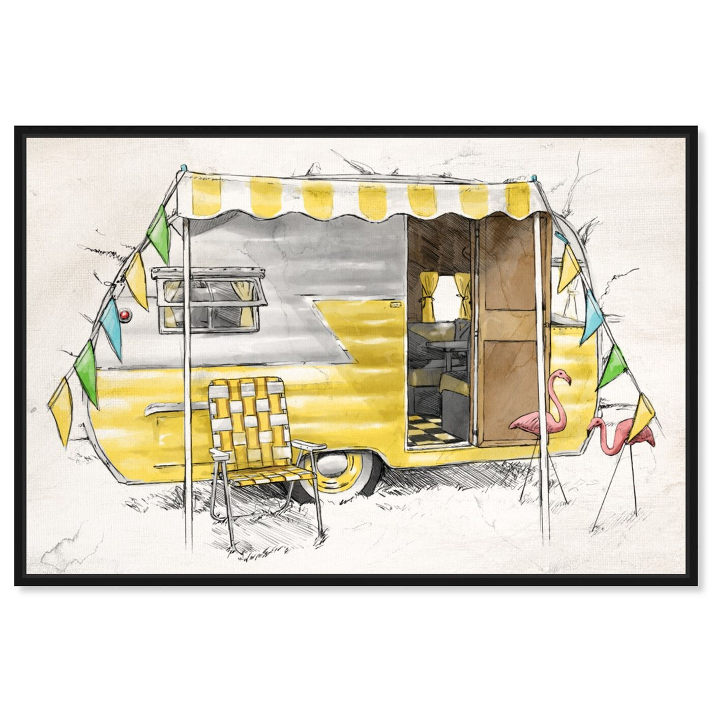 Front view of Yellow Camper featuring entertainment and hobbies and camping art.