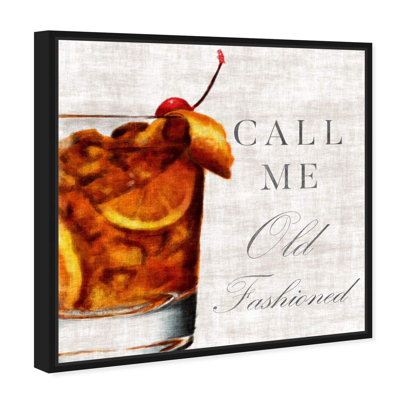 Angled view of Call Me Old Fashioned featuring drinks and spirits and liquor art.