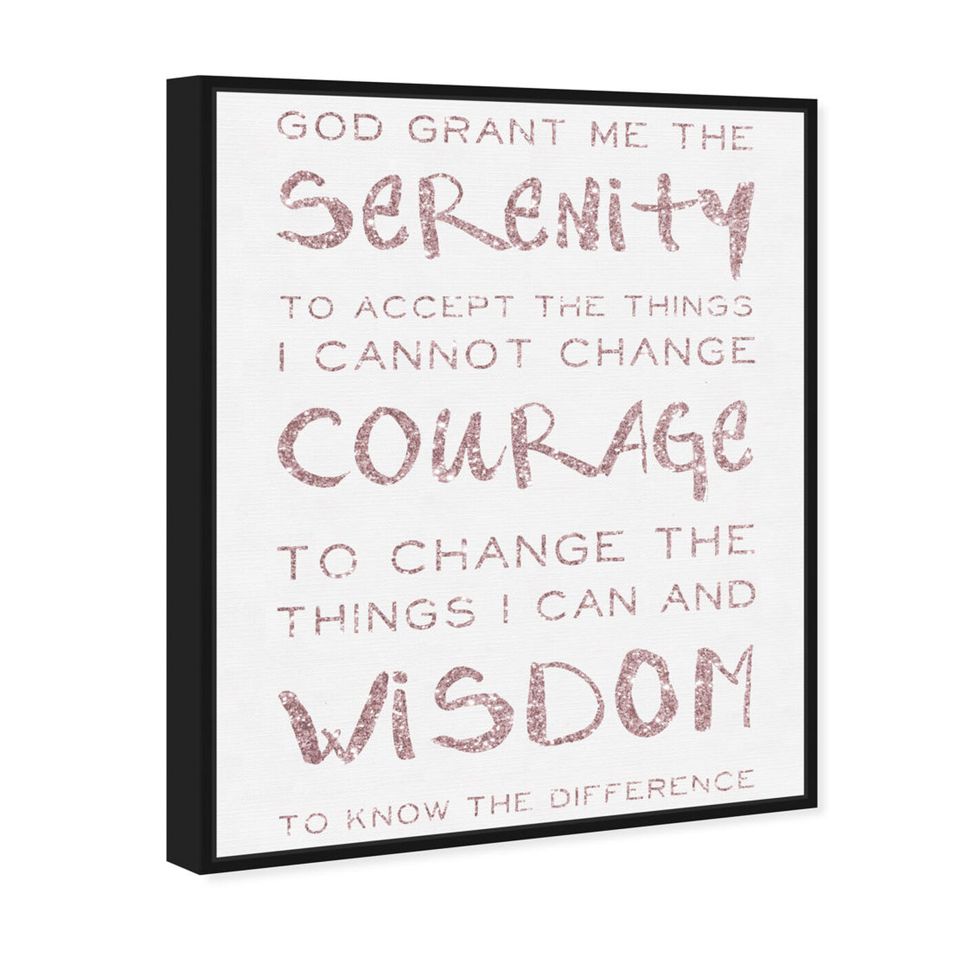 Angled view of Serenity Prayer Blush and White featuring typography and quotes and inspirational quotes and sayings art.