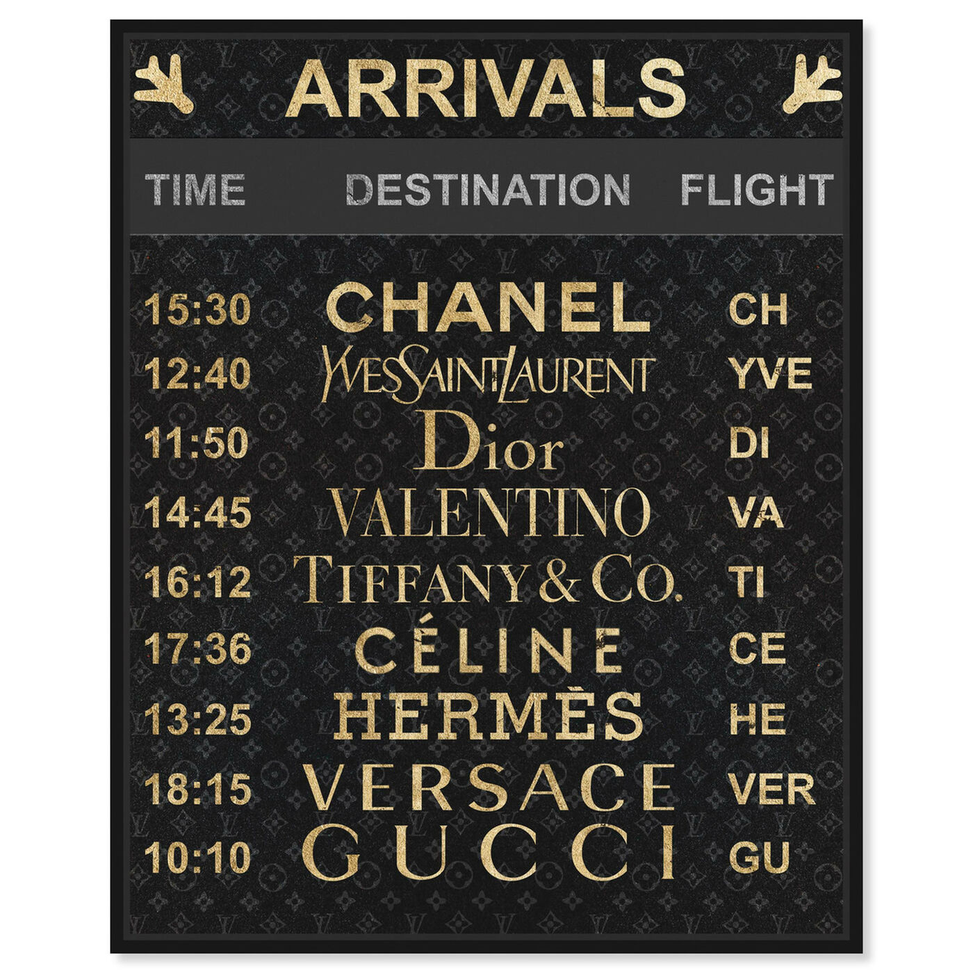Front view of Luxe Arrivals featuring fashion and glam and travel essentials art.