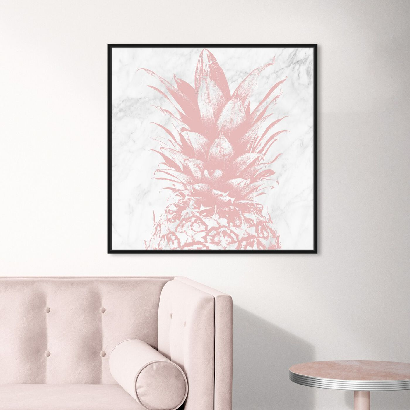 Hanging view of Pastel Pink Pineapple Marble featuring food and cuisine and fruits art.