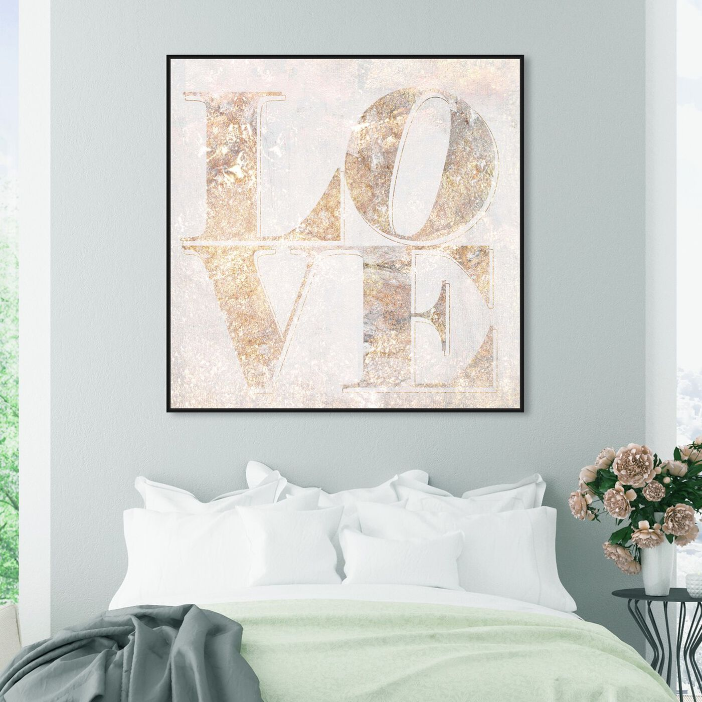 Hanging view of Build on Love Champagne featuring typography and quotes and love quotes and sayings art.