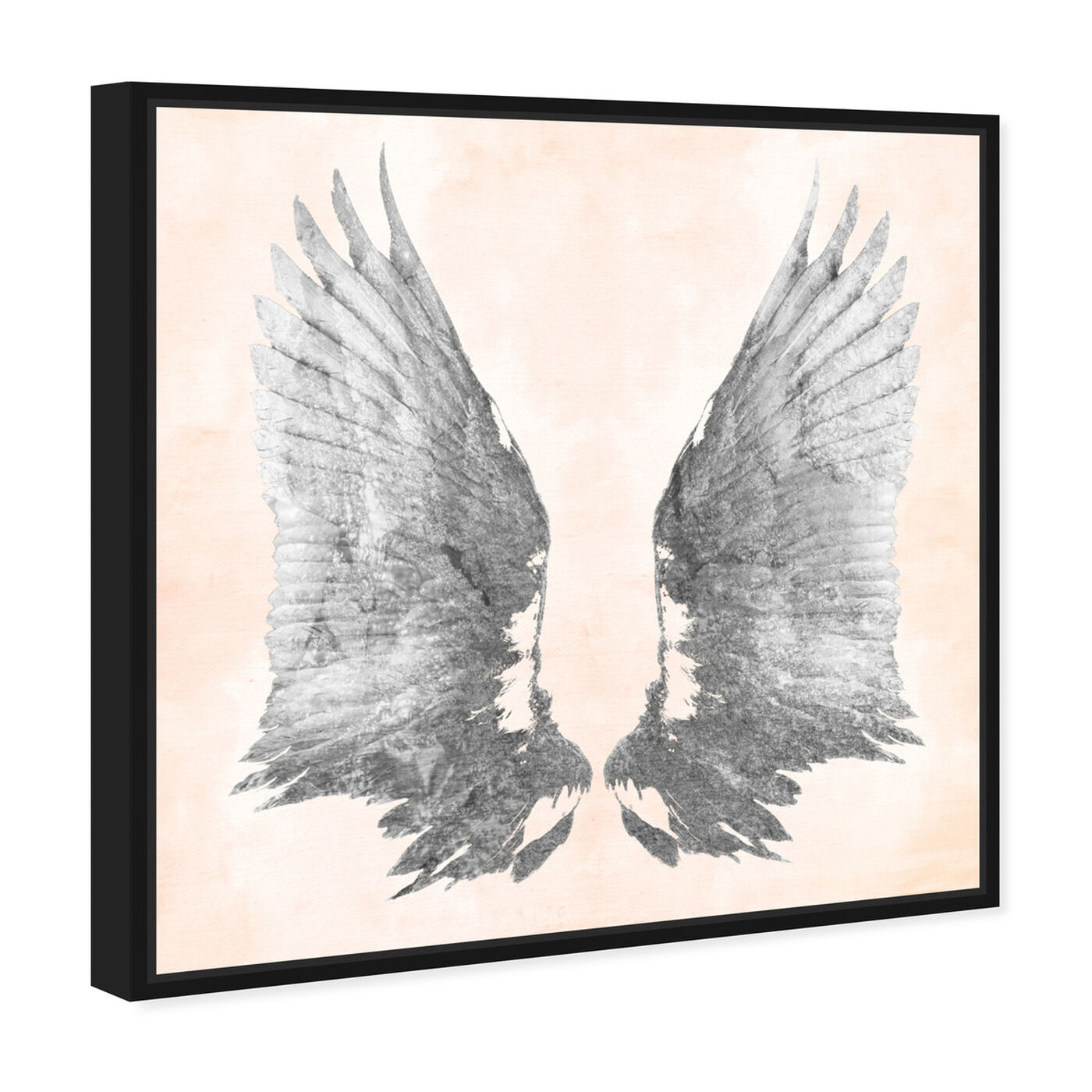 Angled view of Pink Silver Wings featuring fashion and glam and feathers art.