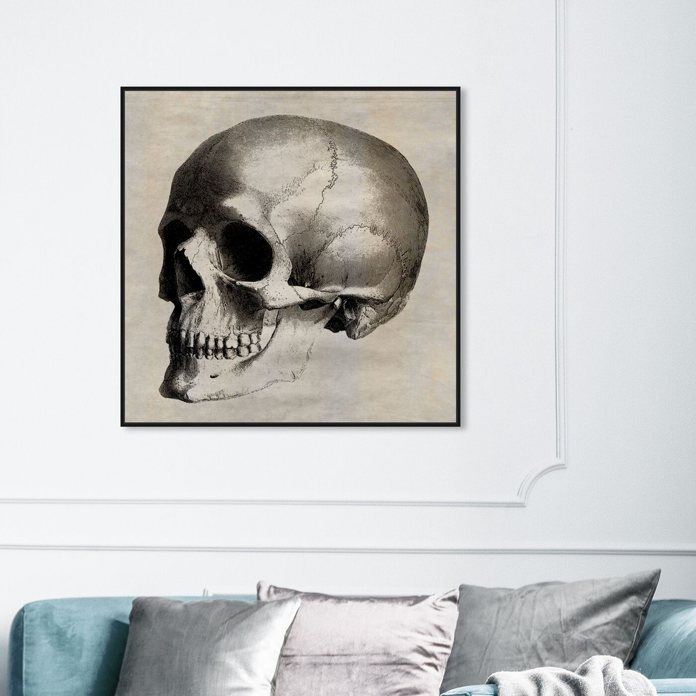 Hanging view of Skull Side featuring symbols and objects and skull art.