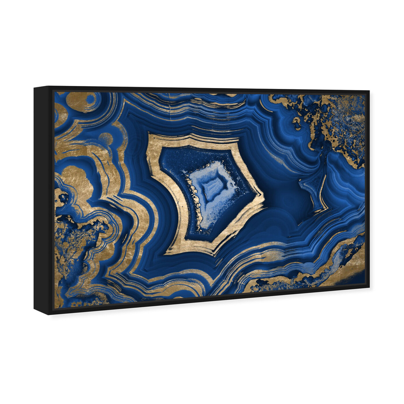 Angled view of Blue Geode featuring abstract and crystals art.
