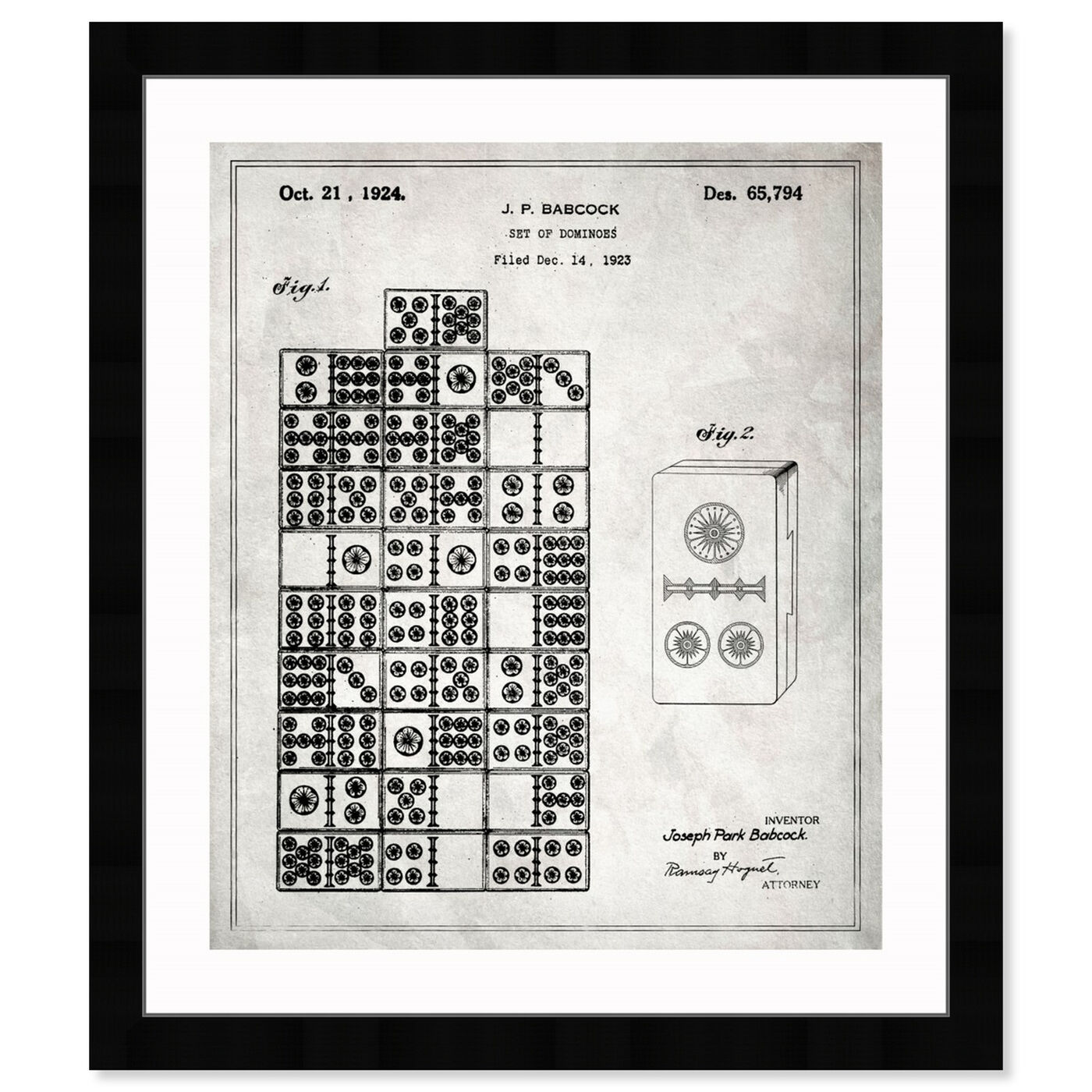 Front view of Set Of Dominos 1924 featuring entertainment and hobbies and board games art.