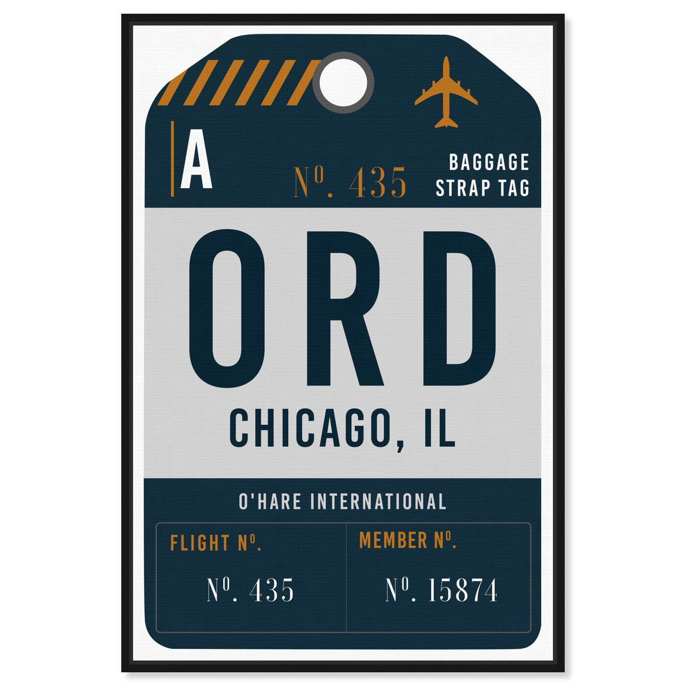 Front view of Chicago Luggage Tag featuring cities and skylines and united states cities art.