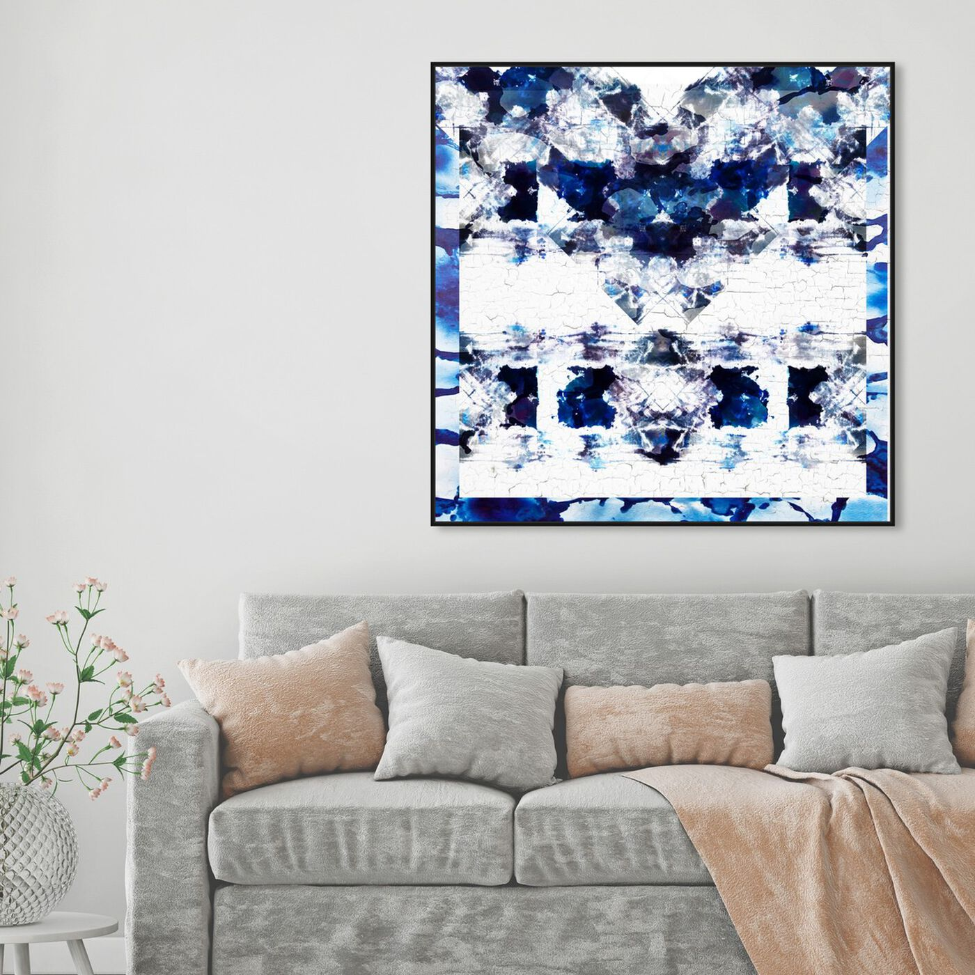 Hanging view of Oeuvre in Blue featuring abstract and patterns art.