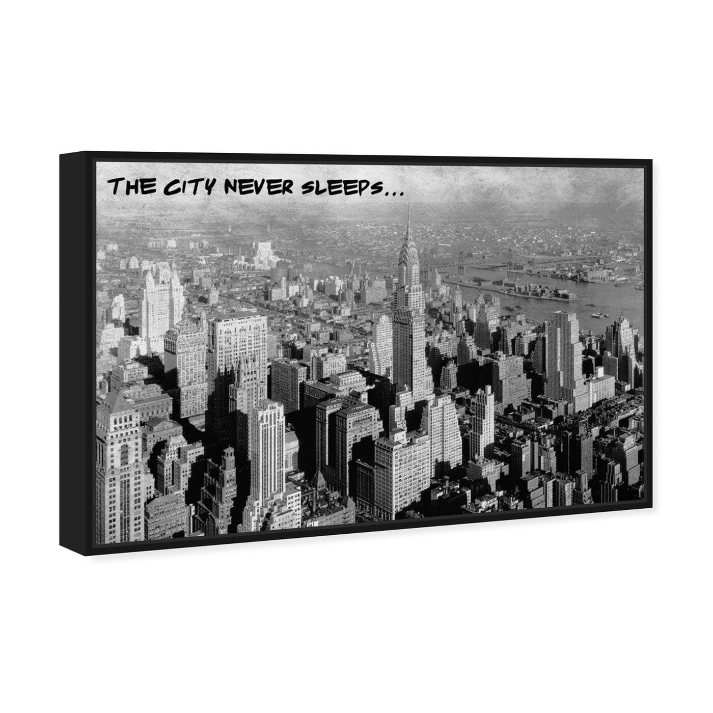 Angled view of Never Sleeps featuring cities and skylines and united states cities art.