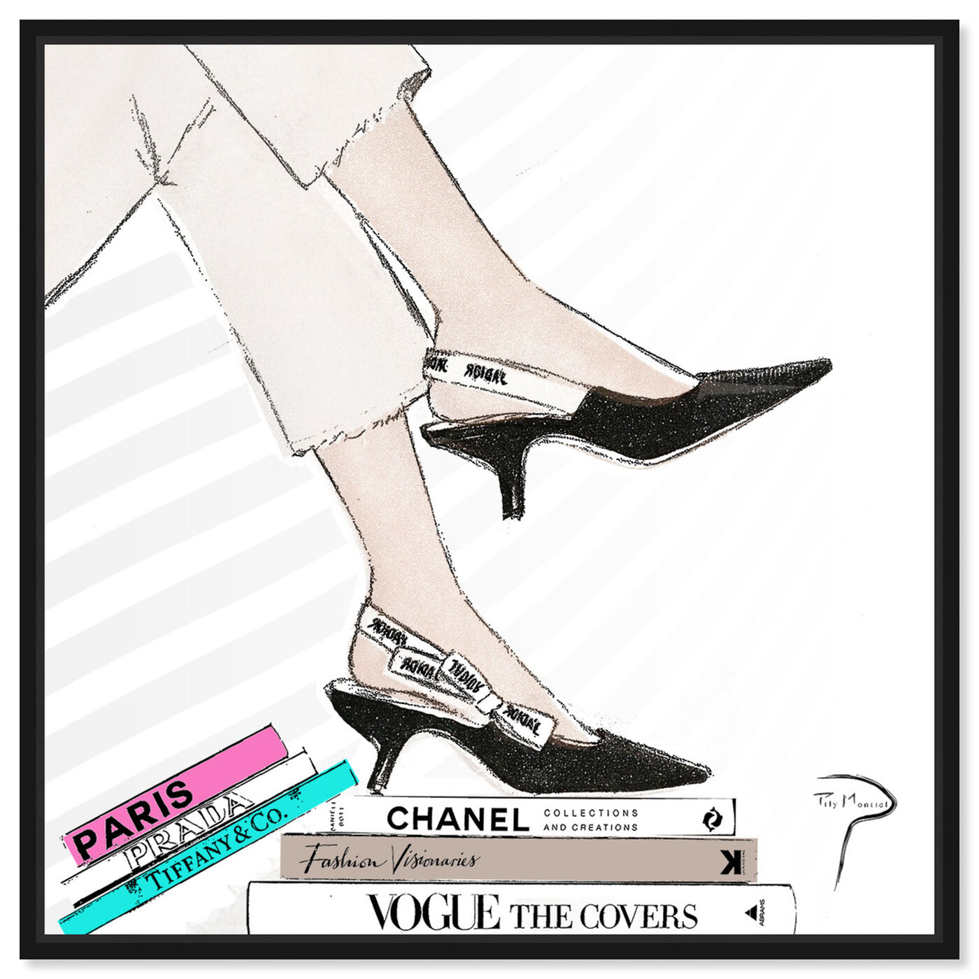 Front view of Pily Montiel - Shoes with pink book featuring fashion and glam and shoes art.