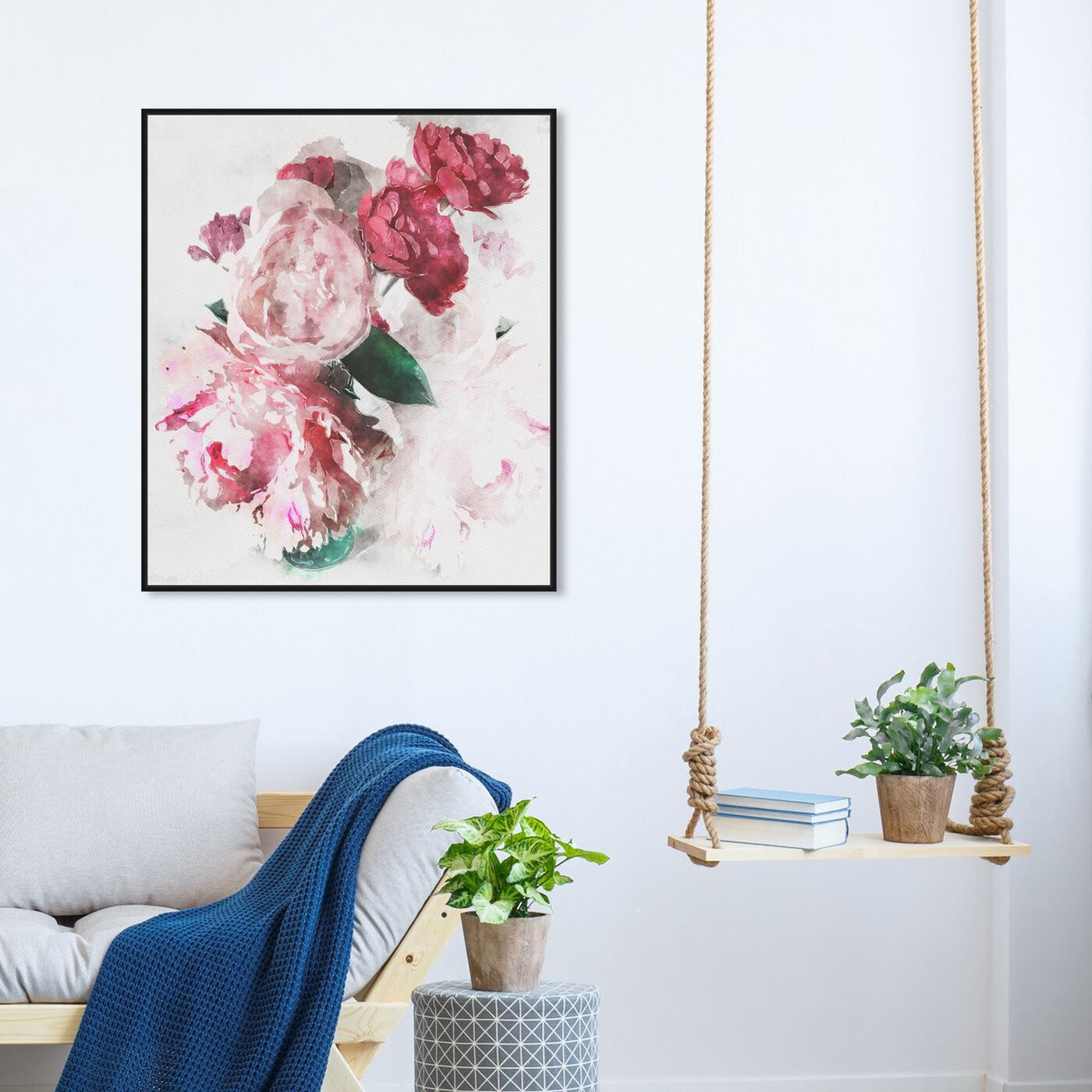 Hanging view of Peony Vase featuring floral and botanical and florals art.