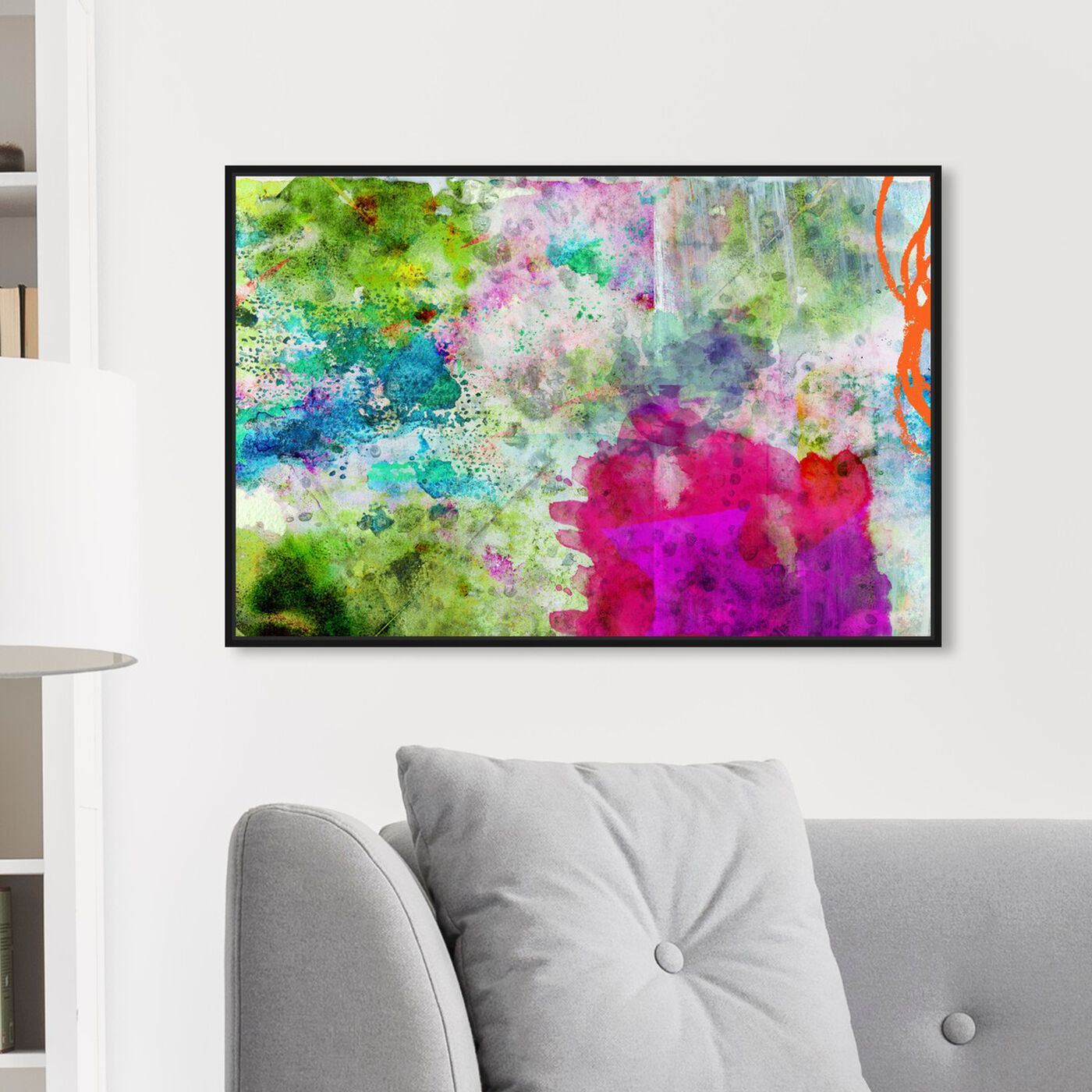 Hanging view of For Like Ever featuring abstract and watercolor art.