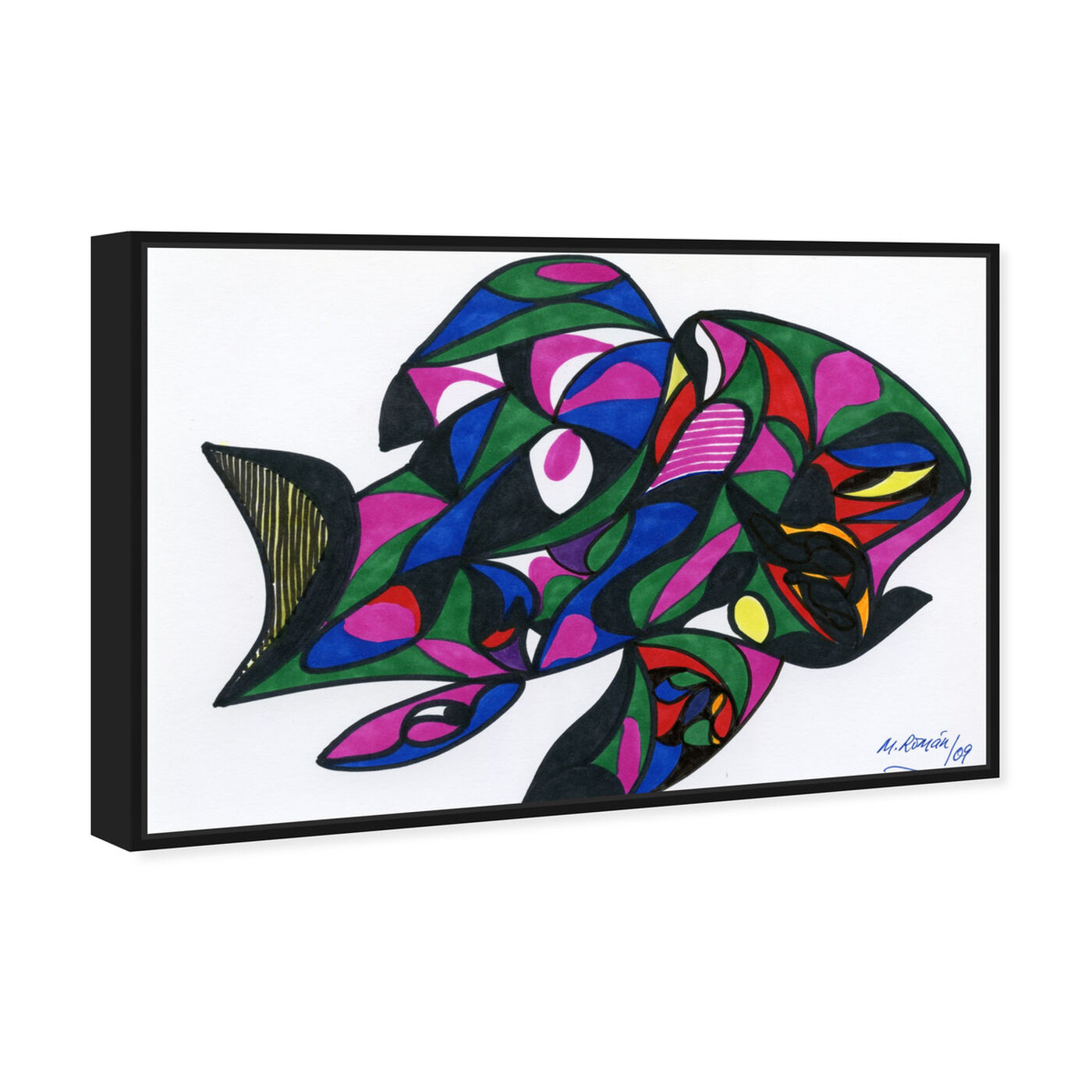 Angled view of Colorful Goldfish featuring abstract and geometric art.