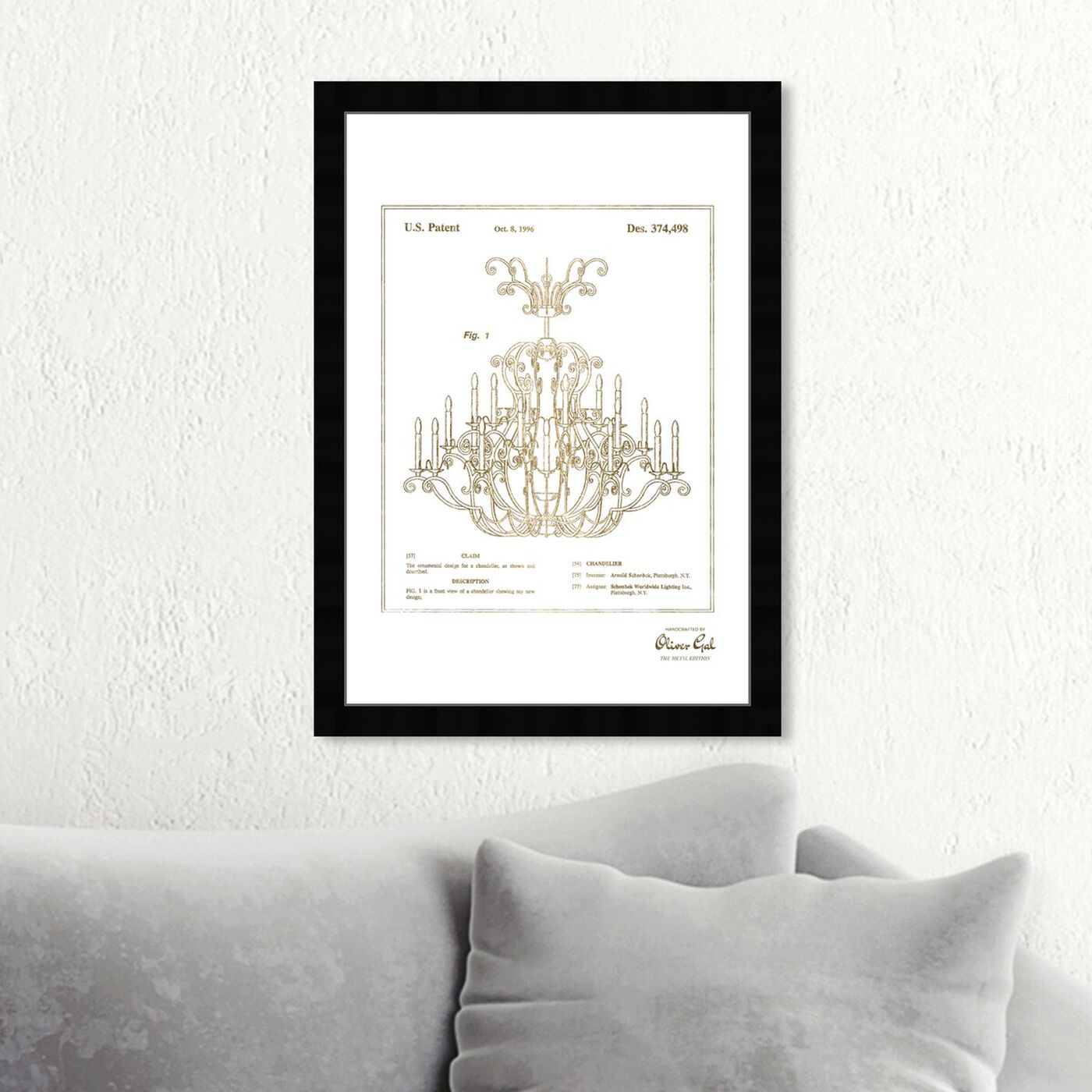 Hanging view of Chandelier 1996 Gold featuring classic and figurative and french décor art.