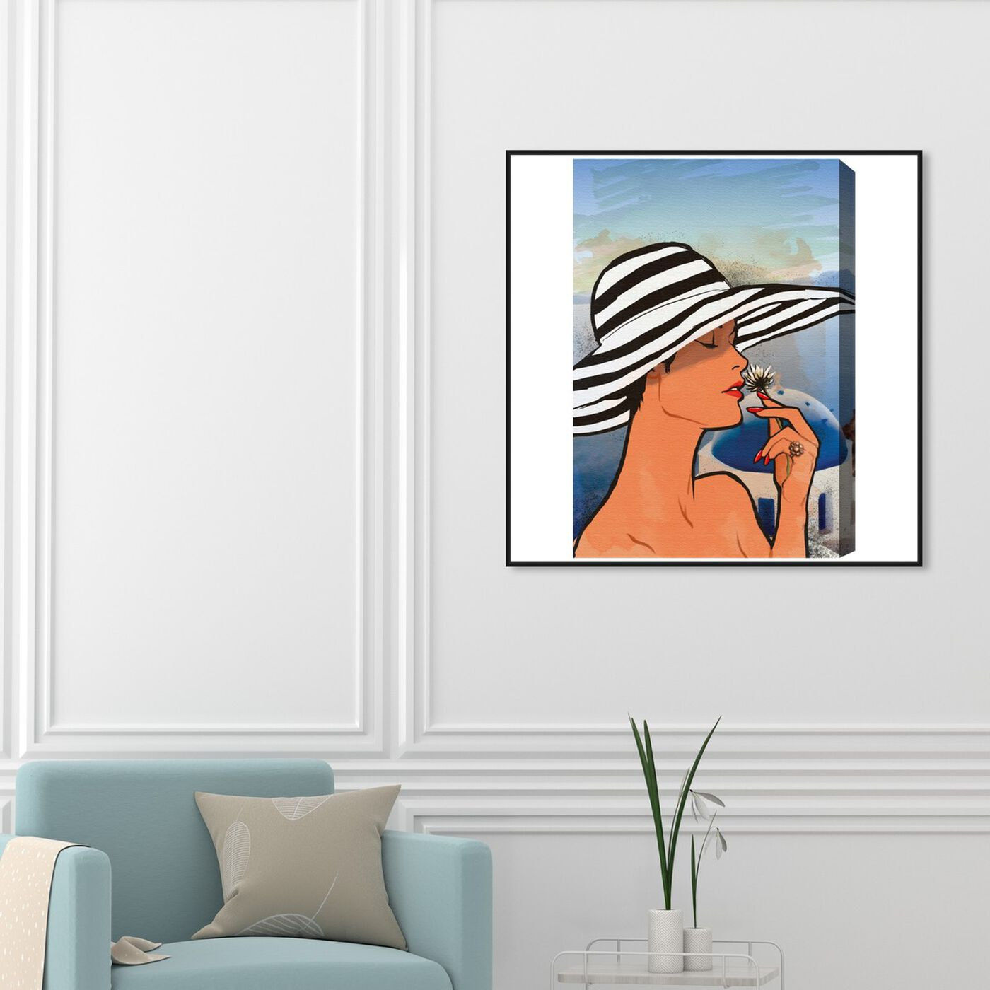 Hanging view of Summer in Mykonos featuring fashion and glam and accessories art.