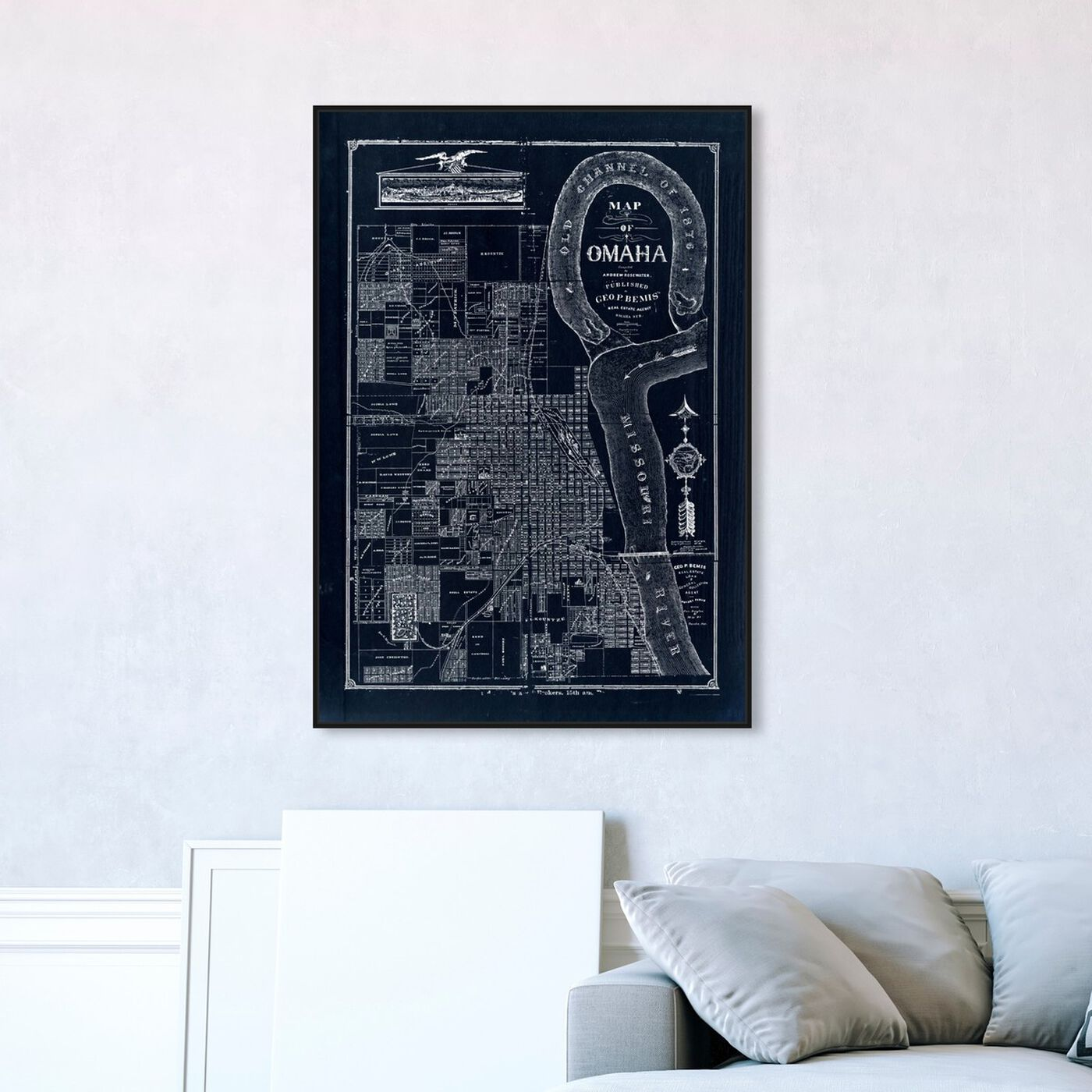 Hanging view of Map of Omaha 1876 featuring cities and skylines and united states cities art.