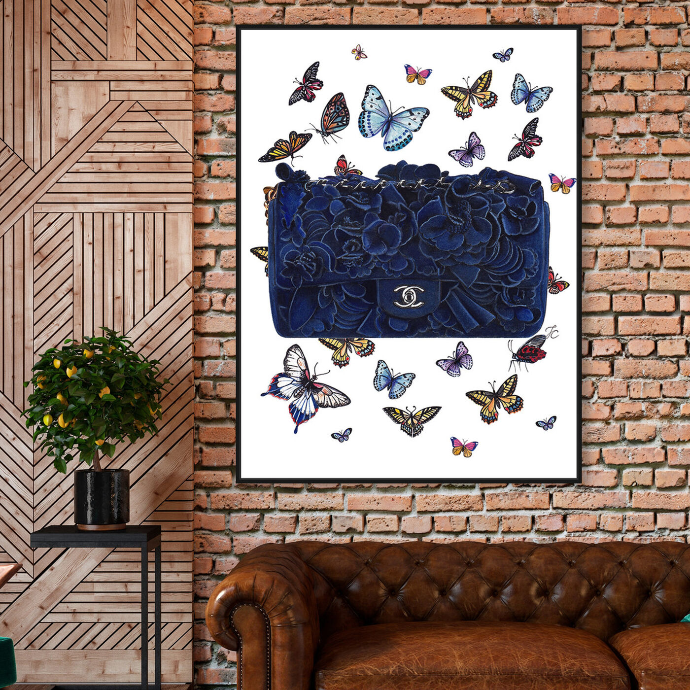 Hanging view of Doll Memories - Butterflies Blue Bag featuring fashion and glam and handbags art.