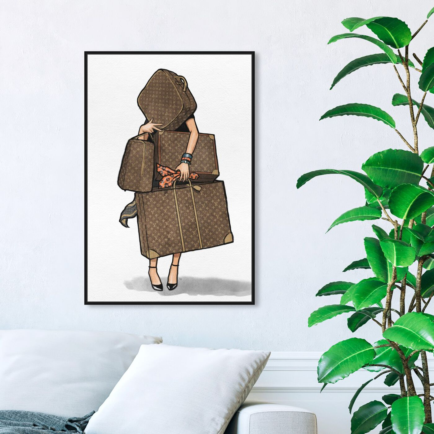 Hanging view of Bags, Bags, Bags- Orange I featuring fashion and glam and travel essentials art.