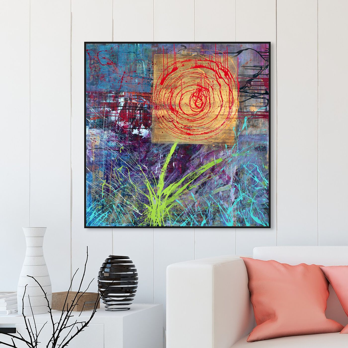 Hanging view of Sai - Urban Blossom 1IC1323 featuring abstract and flowers art.