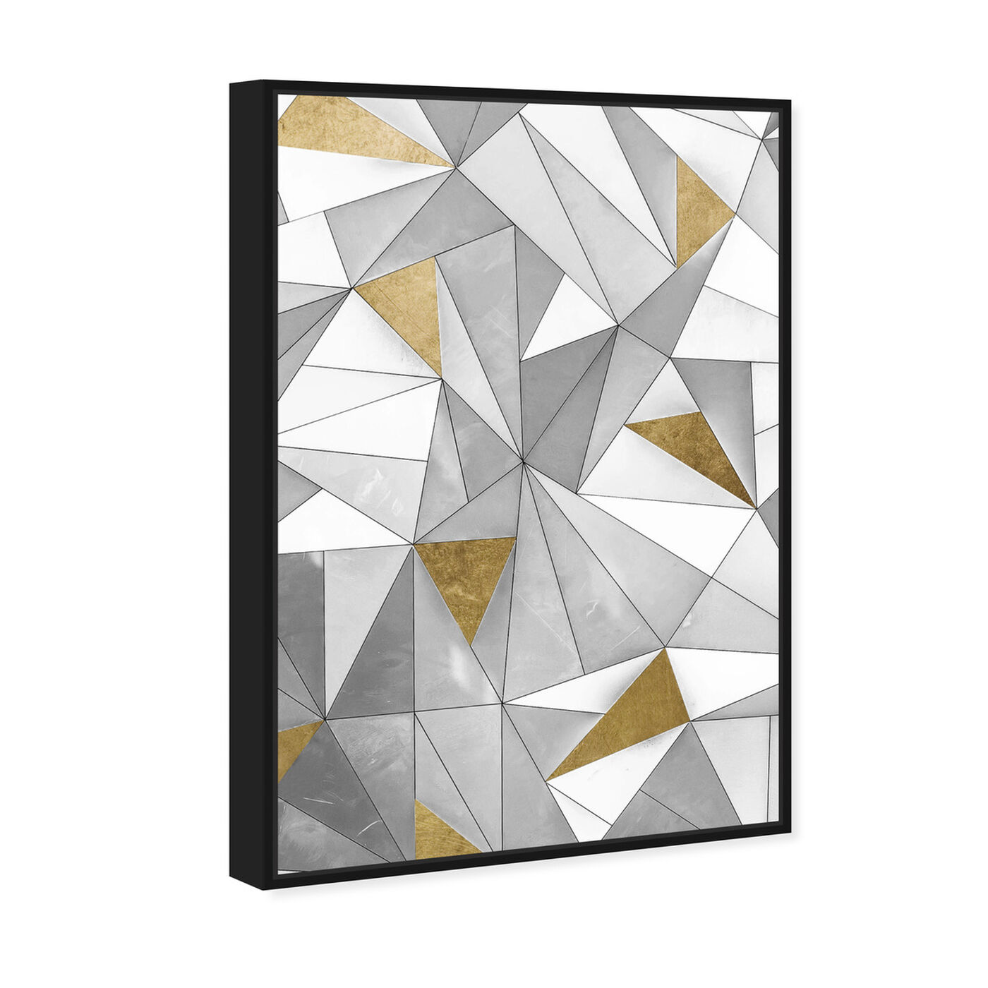 Angled view of Triangular Wall featuring abstract and geometric art.
