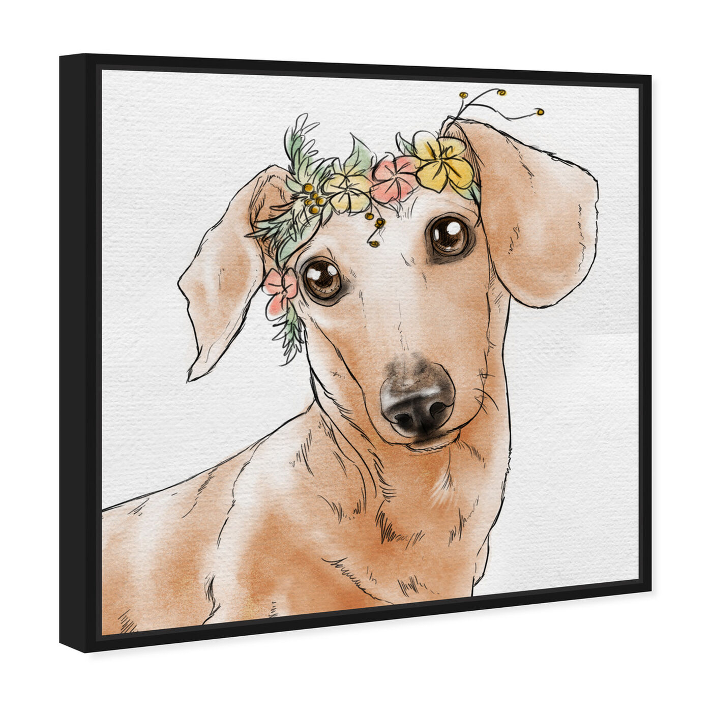 Angled view of Floral Crown Dachshund featuring animals and dogs and puppies art.