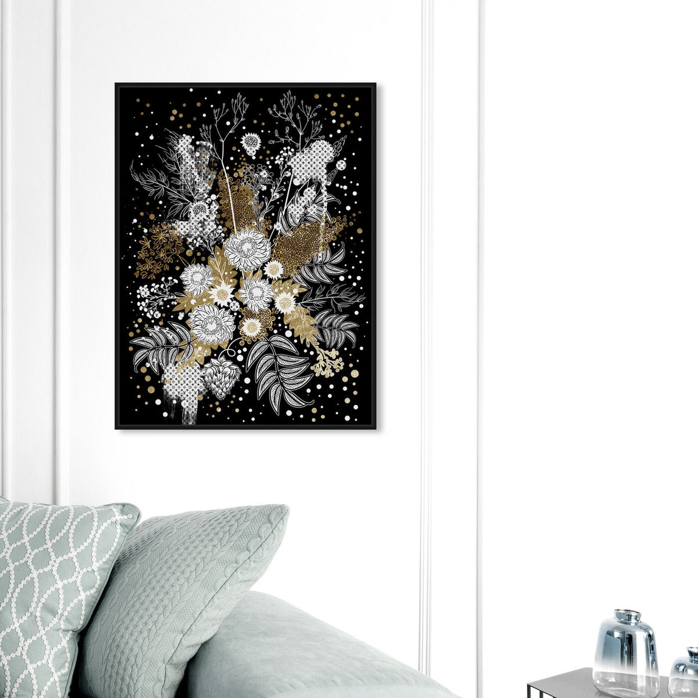 Hanging view of Ochre Bouquet featuring floral and botanical and florals art.
