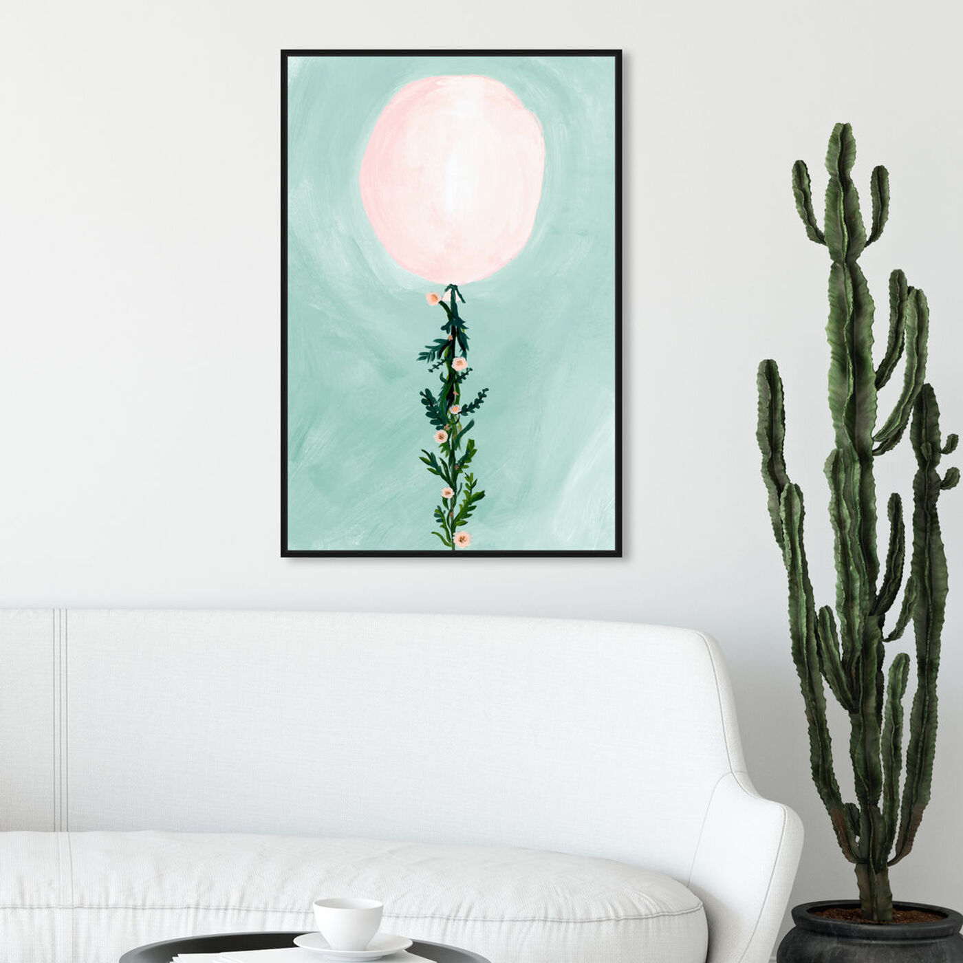 Hanging view of Pastel Flower Balloon featuring floral and botanical and botanicals art.