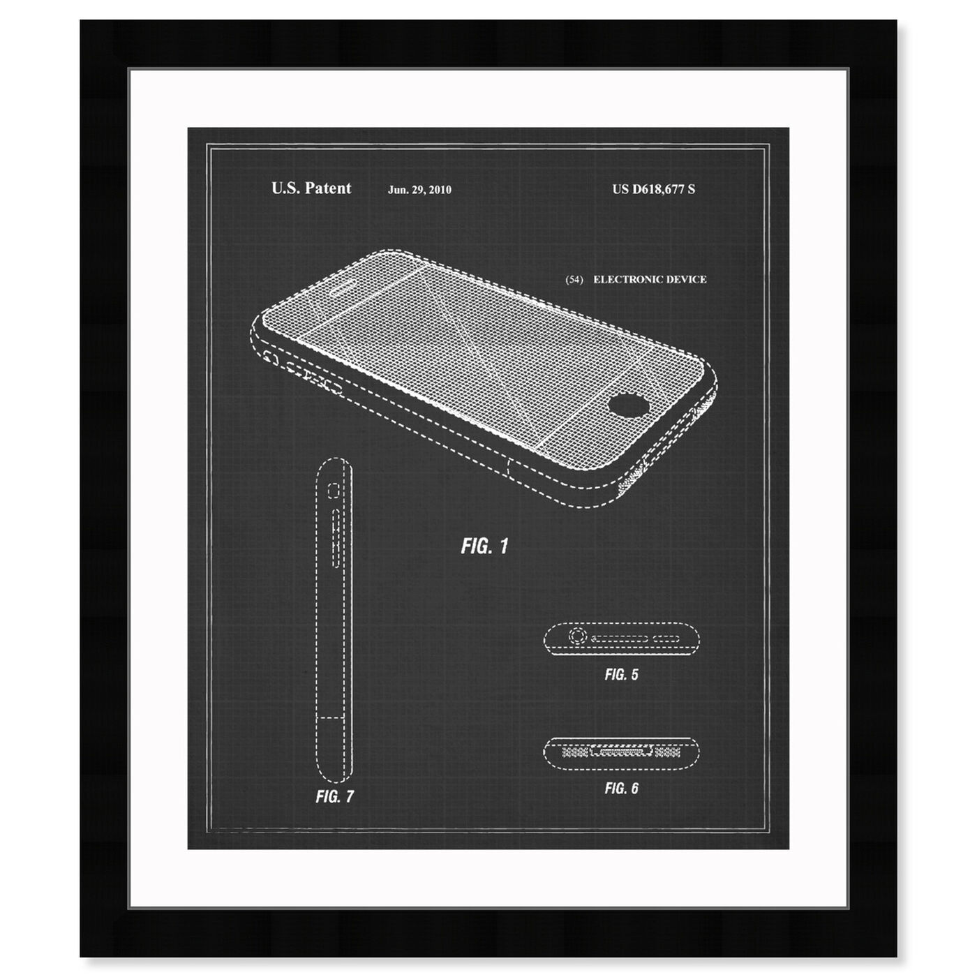 Front view of Apple Iphone, 2010 - Noir featuring symbols and objects and workspace art.