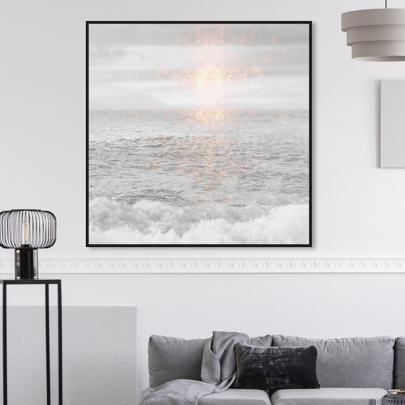 Hanging view of Grey Sea featuring nautical and coastal and coastal landscapes art.