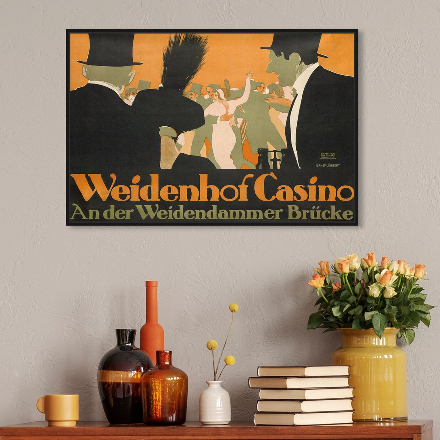 Hanging view of Weidenhof Casino featuring advertising and posters art.