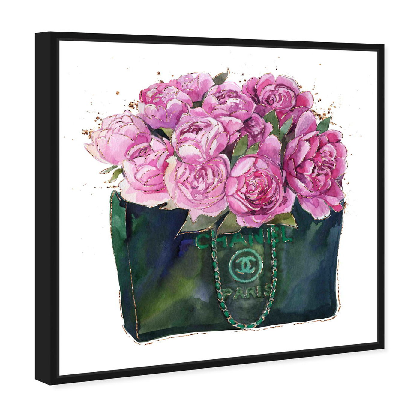 Angled view of Floral Fashion bag featuring fashion and glam and handbags art.