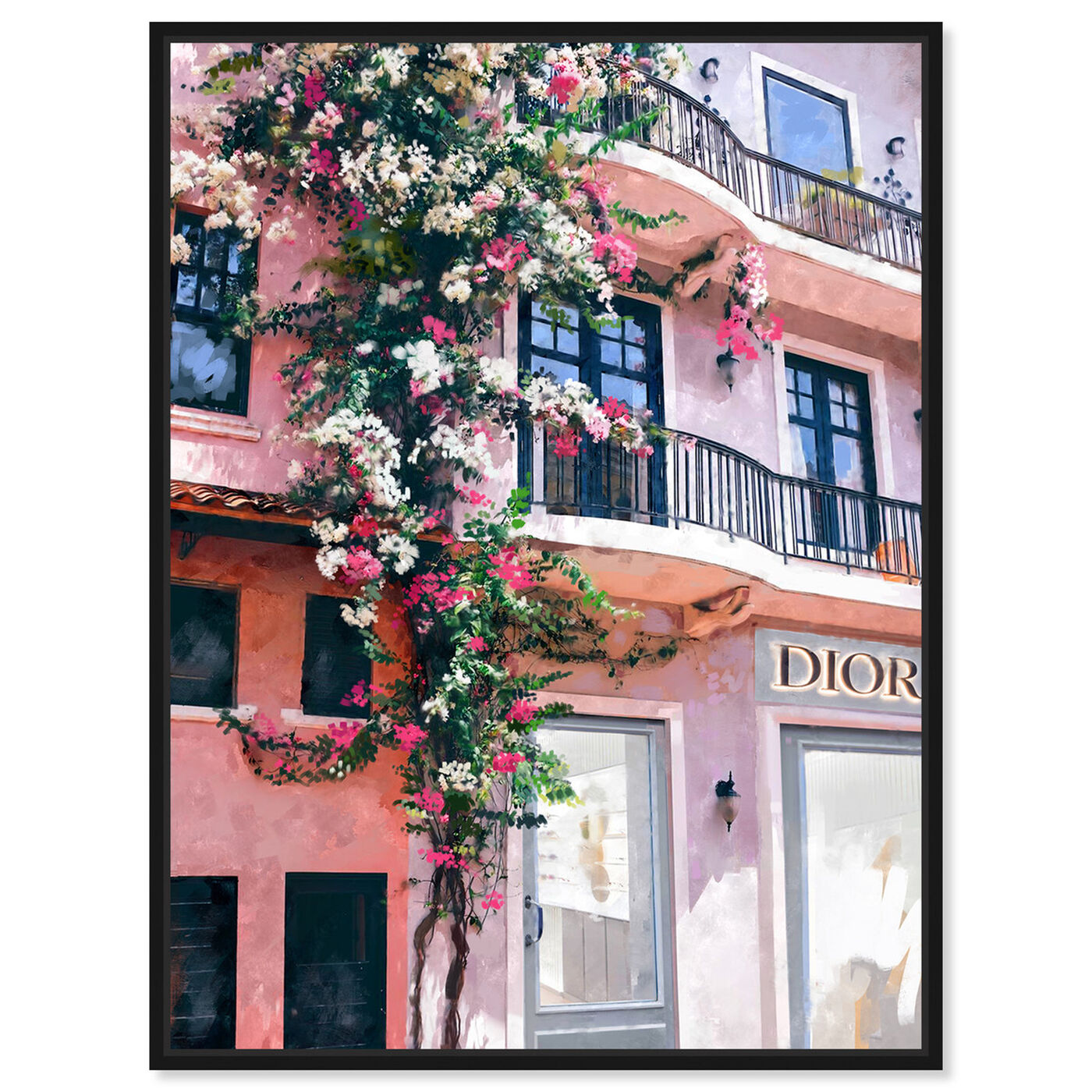 Front view of French Floral Fashion Boutique featuring fashion and glam and road signs art.
