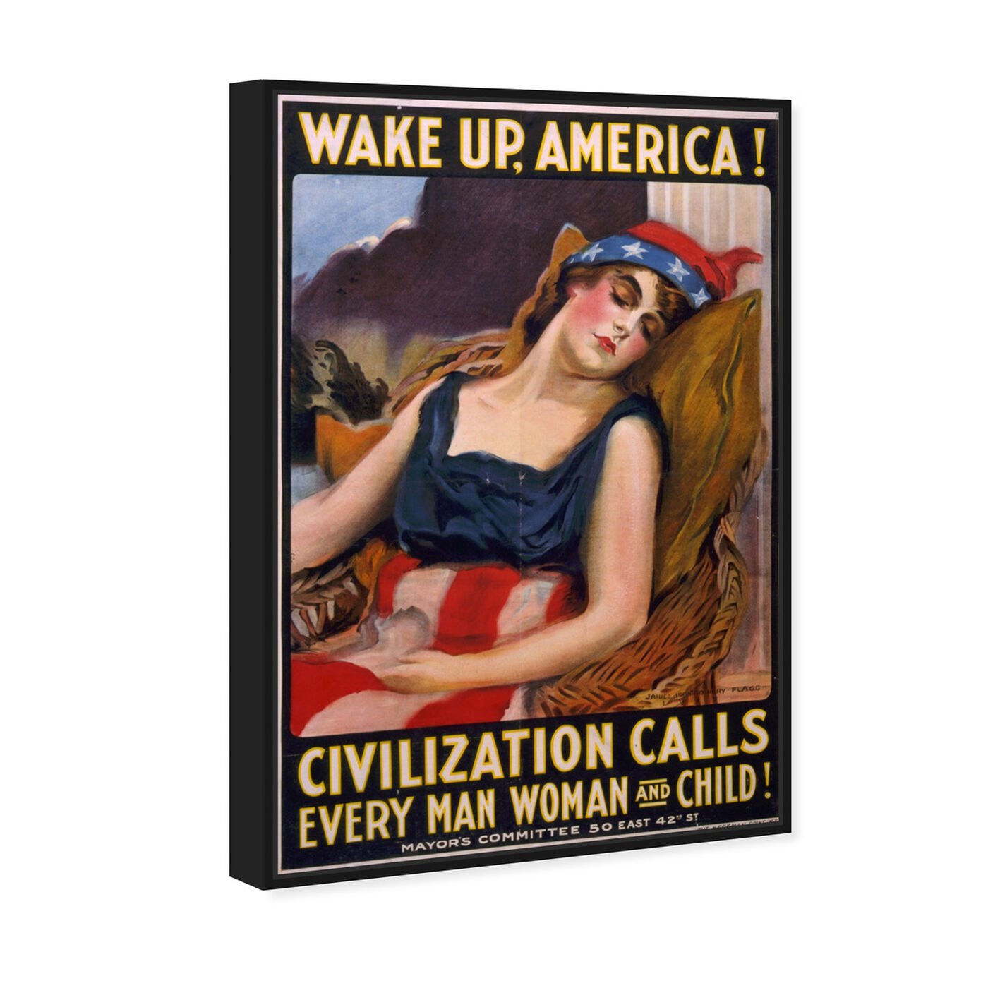 Angled view of Wake Up America 1917 featuring advertising and posters art.
