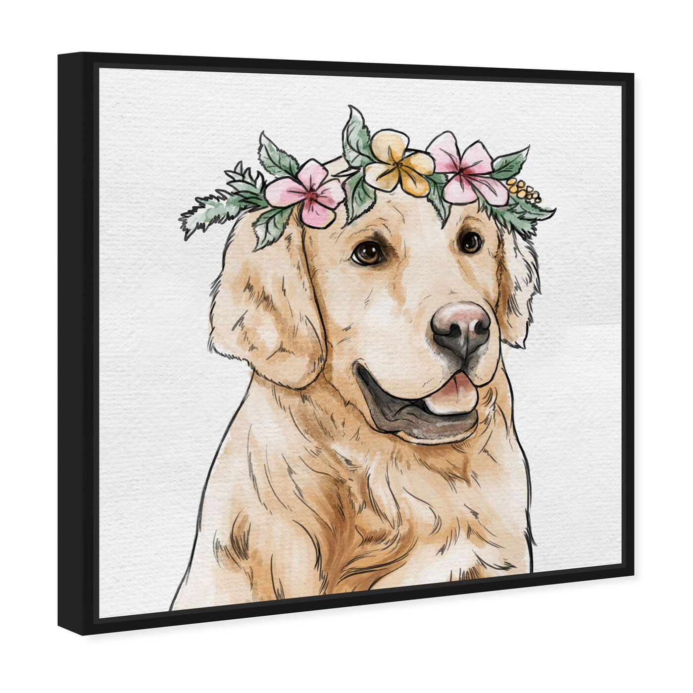 Angled view of Floral Crowned Golden Retriever featuring animals and dogs and puppies art.