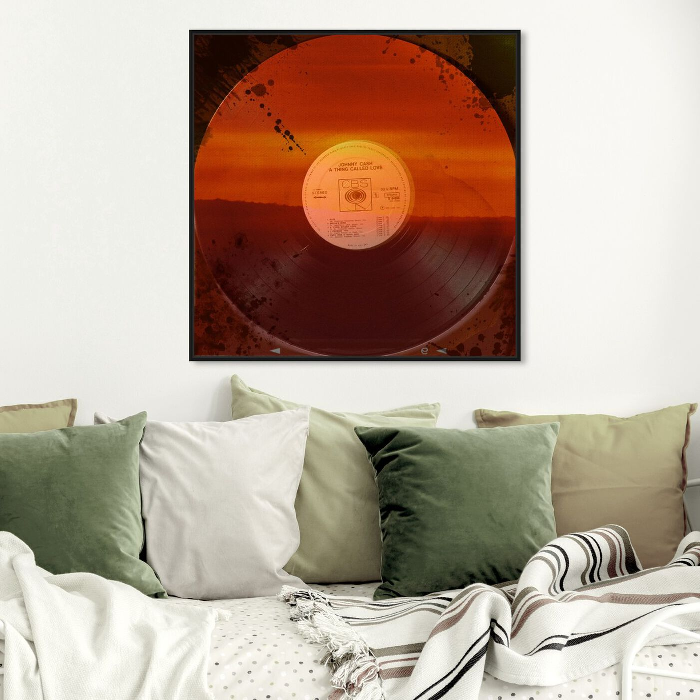 Hanging view of A Thing Called Love featuring music and dance and vinyl records art.
