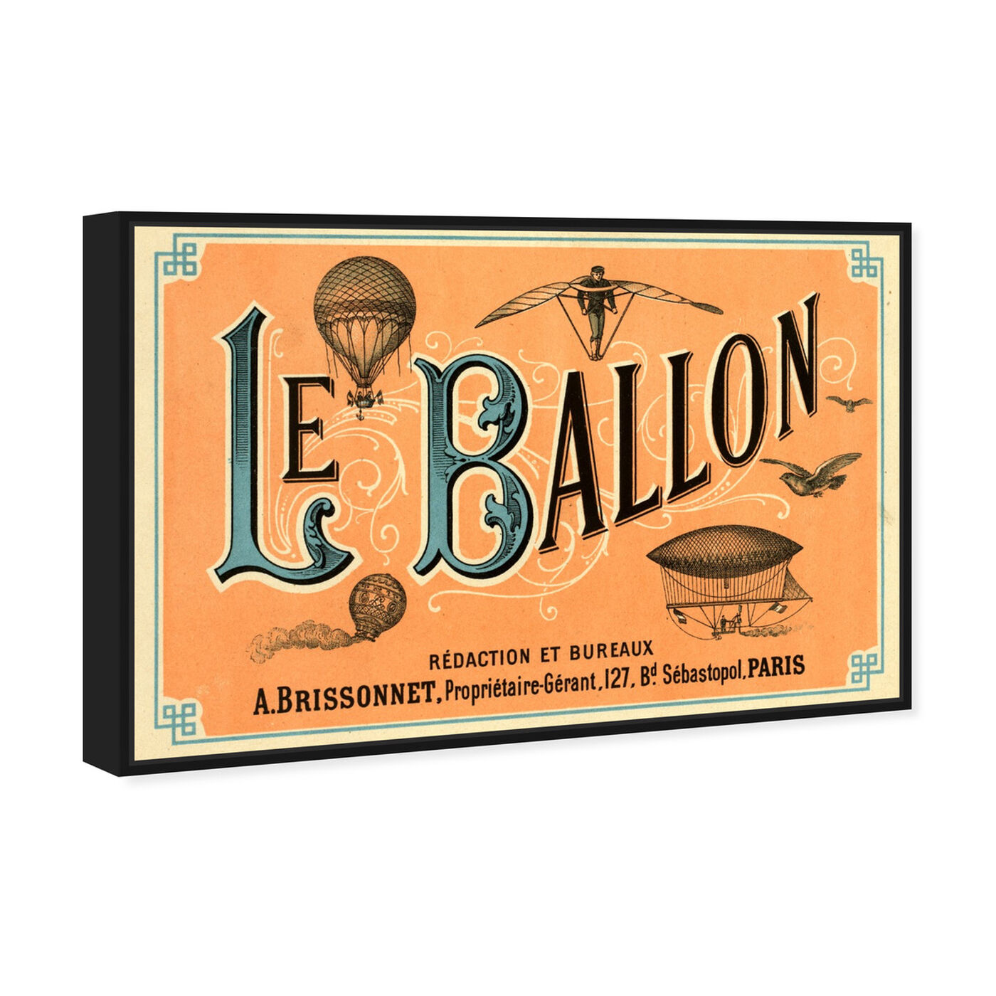 Angled view of Le Balloon 1883 featuring transportation and air transportation art.