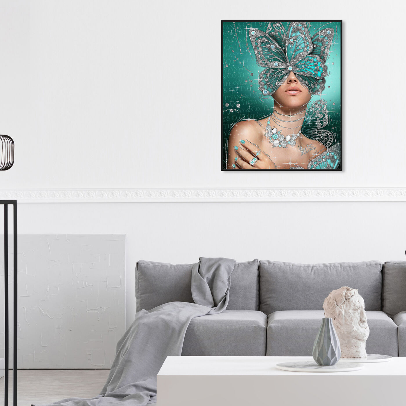 Hanging view of Turquoise Wings featuring fashion and glam and wings art.