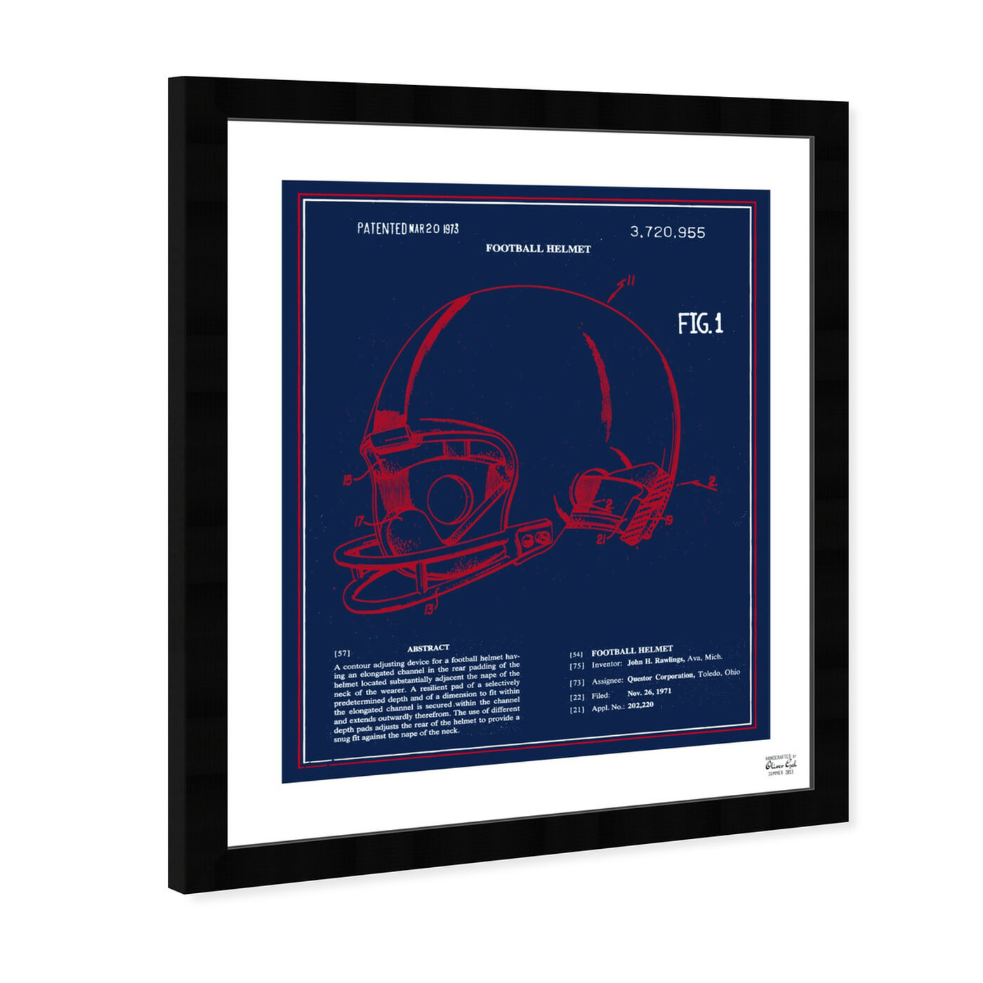 Angled view of Football Helmet 1973 - Red White Blue featuring sports and teams and football art.