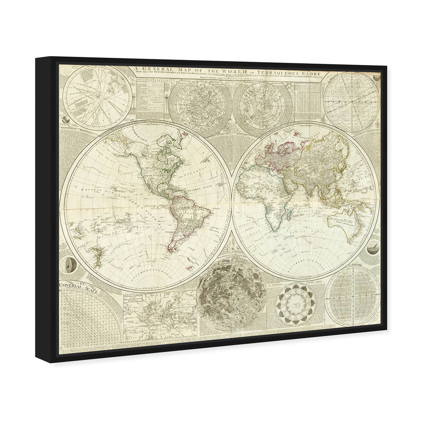 Angled view of Terraqueous Globe Map 1787 featuring maps and flags and world maps art.