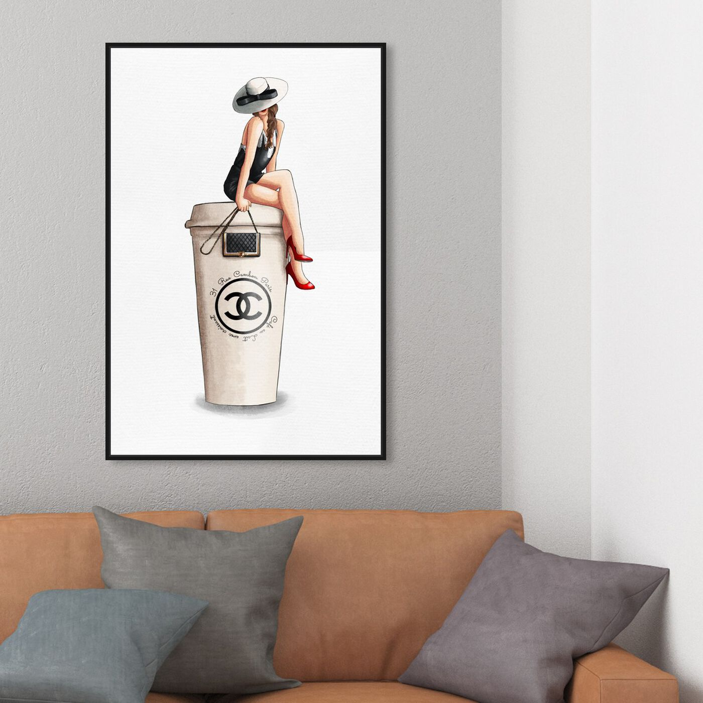 Hanging view of Cafe Au Lait Cambon Brunette featuring drinks and spirits and coffee art.