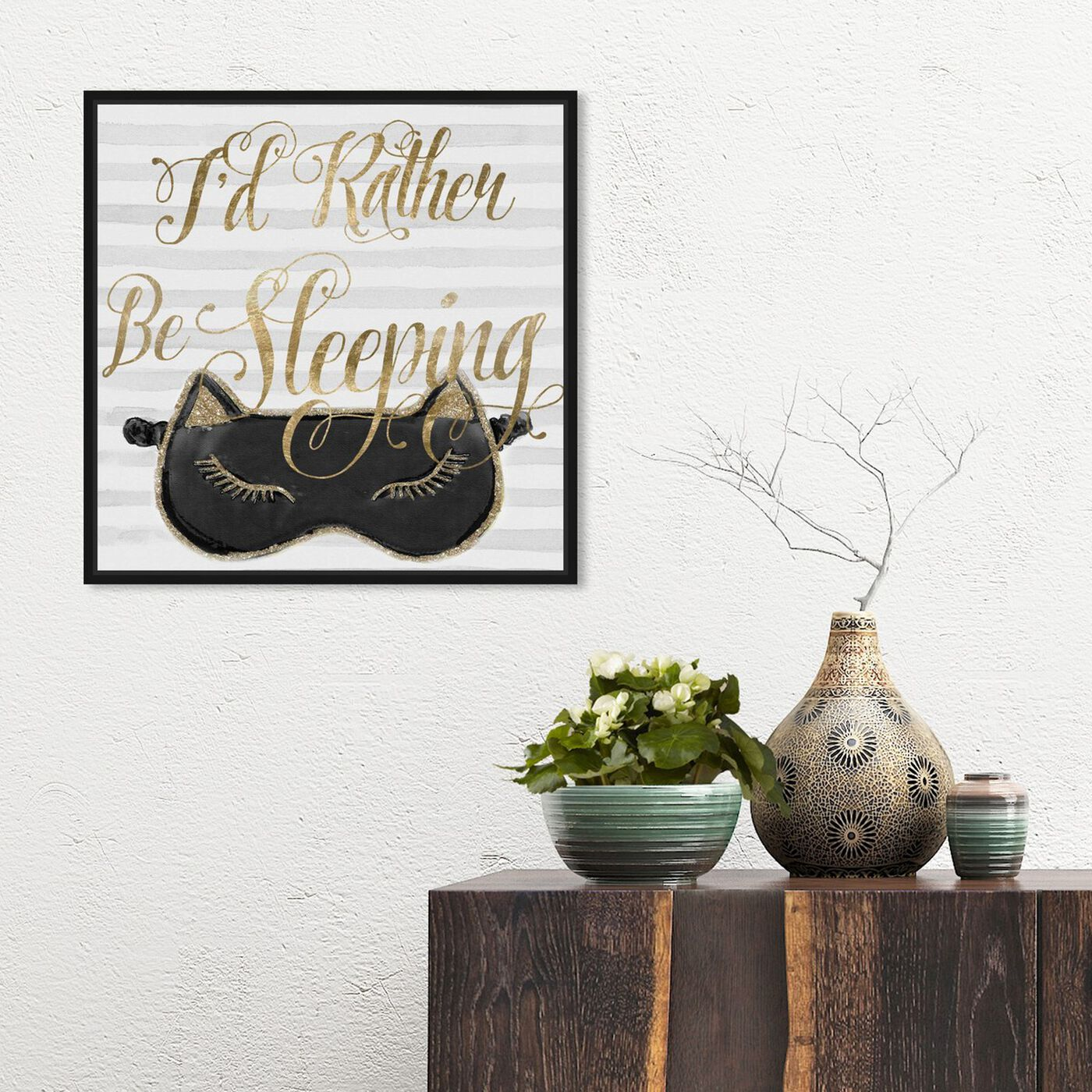 Hanging view of I Rather Stay Night featuring typography and quotes and funny quotes and sayings art.