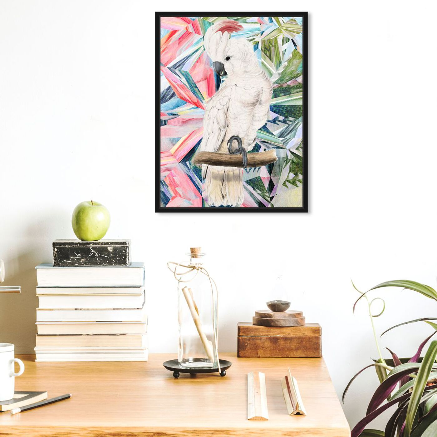 Hanging view of Modern Cockatoo featuring animals and birds art.